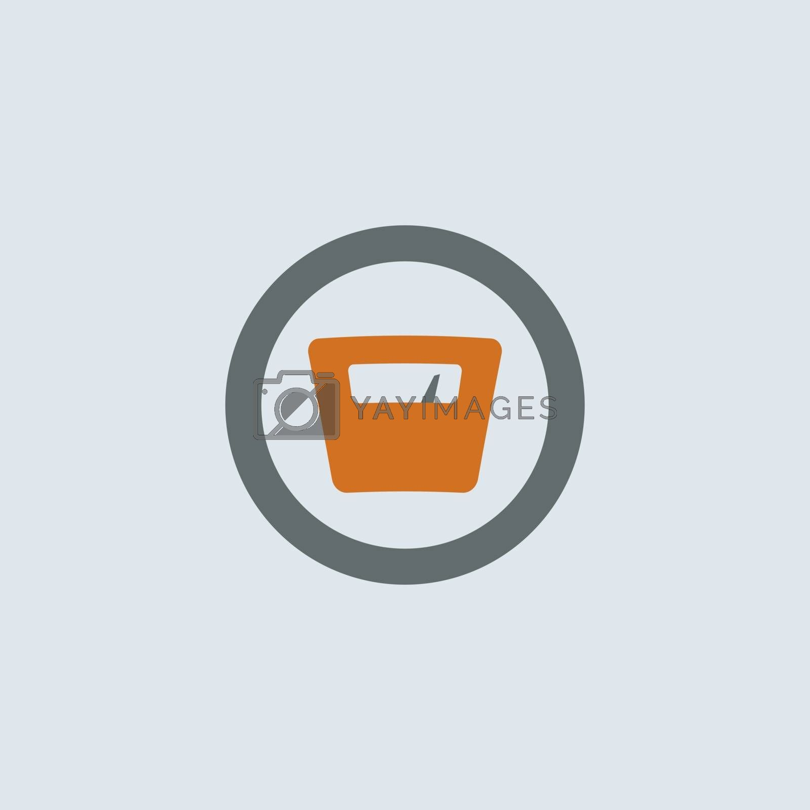 Gray-orange weighing-machine with arrow pointing to high weight round web icon