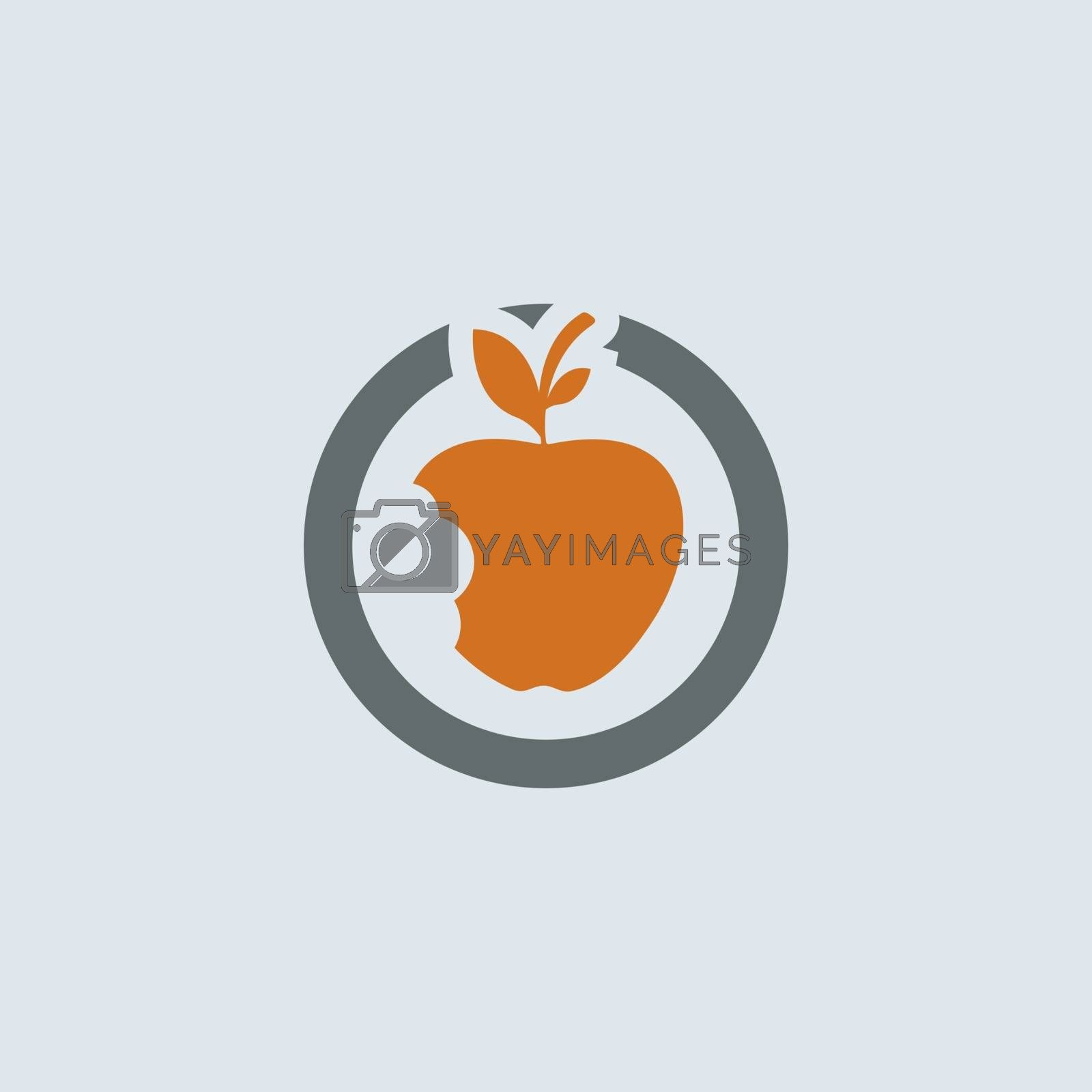Gray-orange bitten apple with leaves round web icon