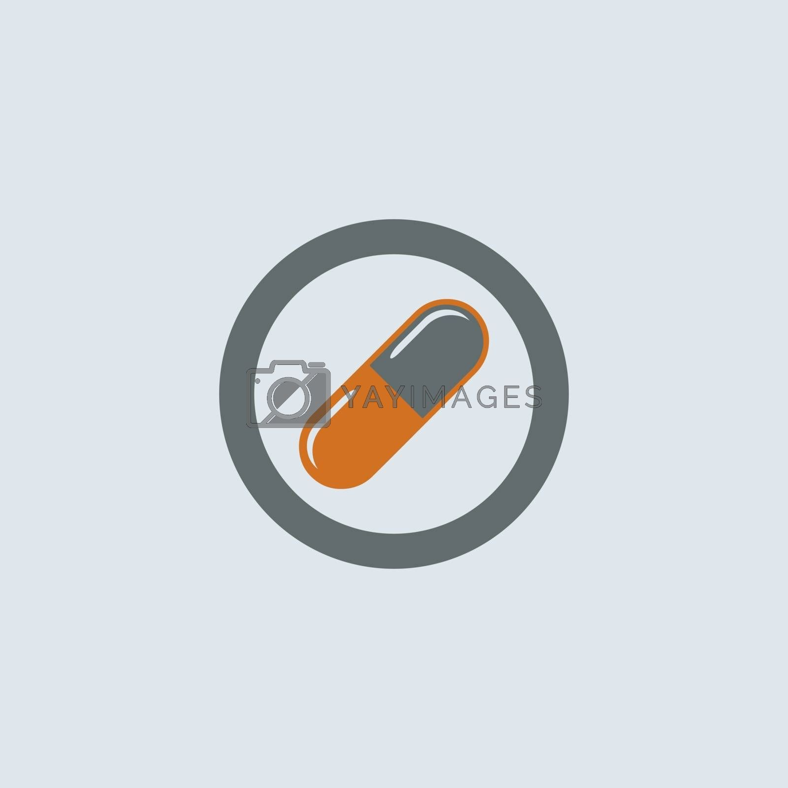 Gray-orange soluble capsule pill round web icon