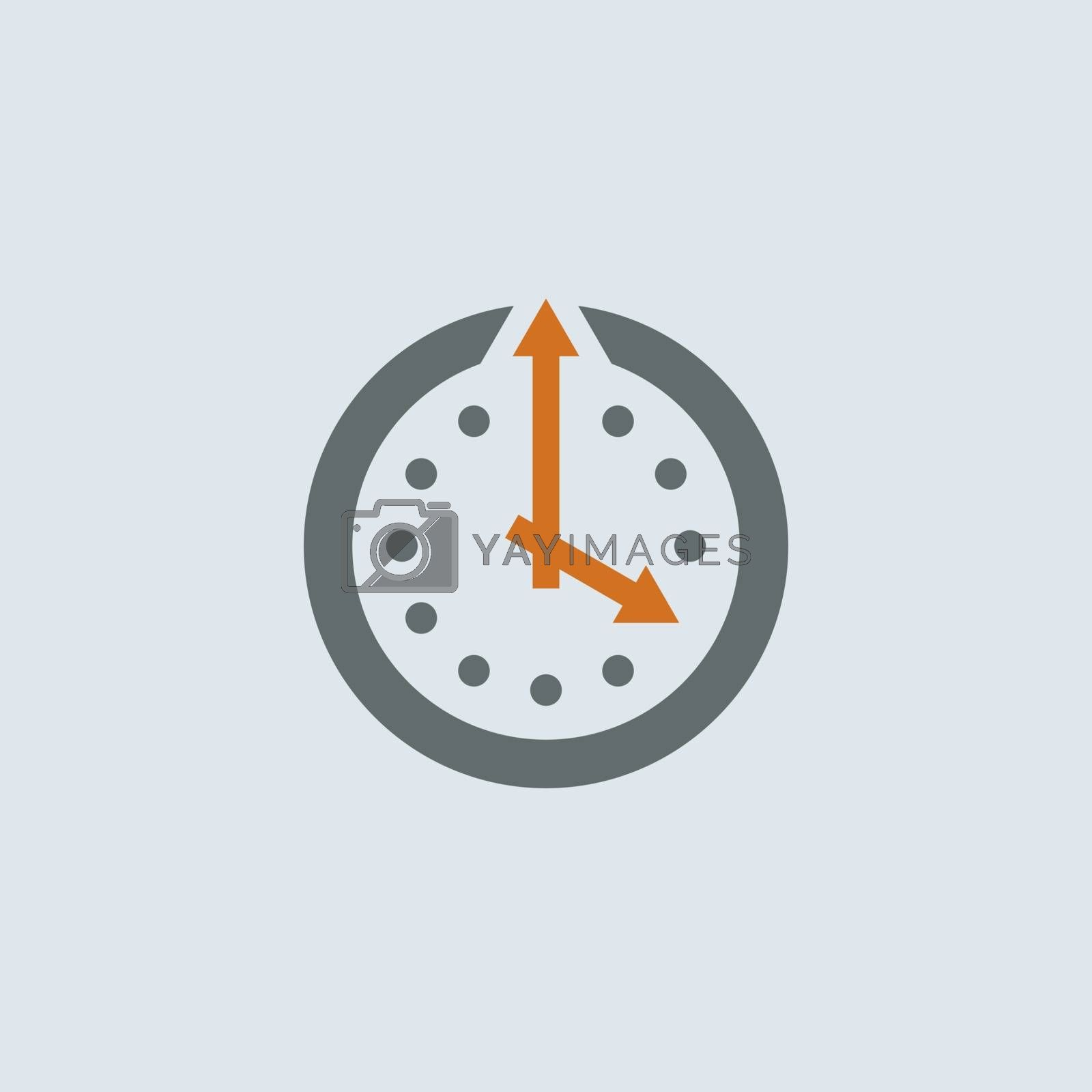 Gray-orange wall clock with arrows round web icon