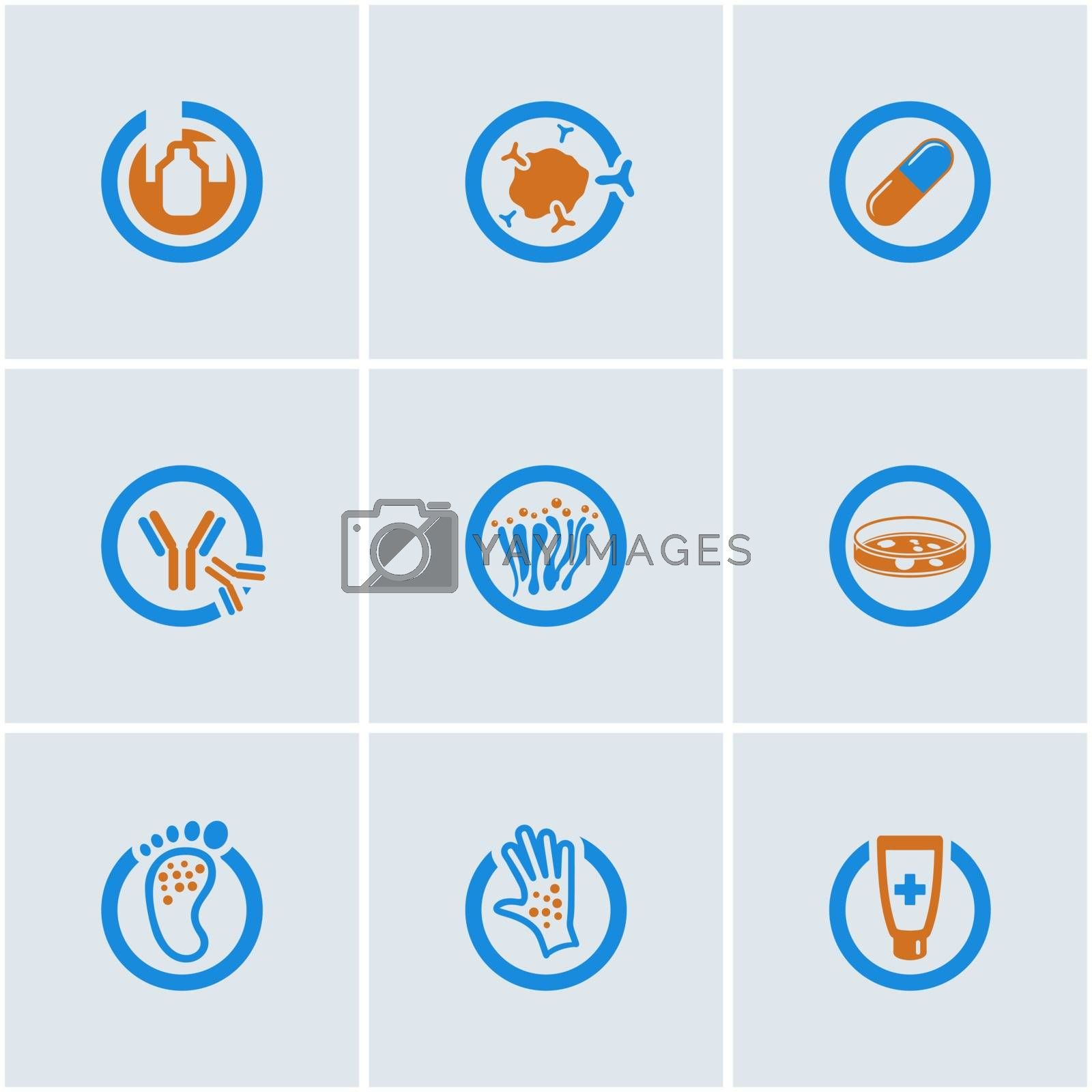 Blue-Orange vector set of medical web icons