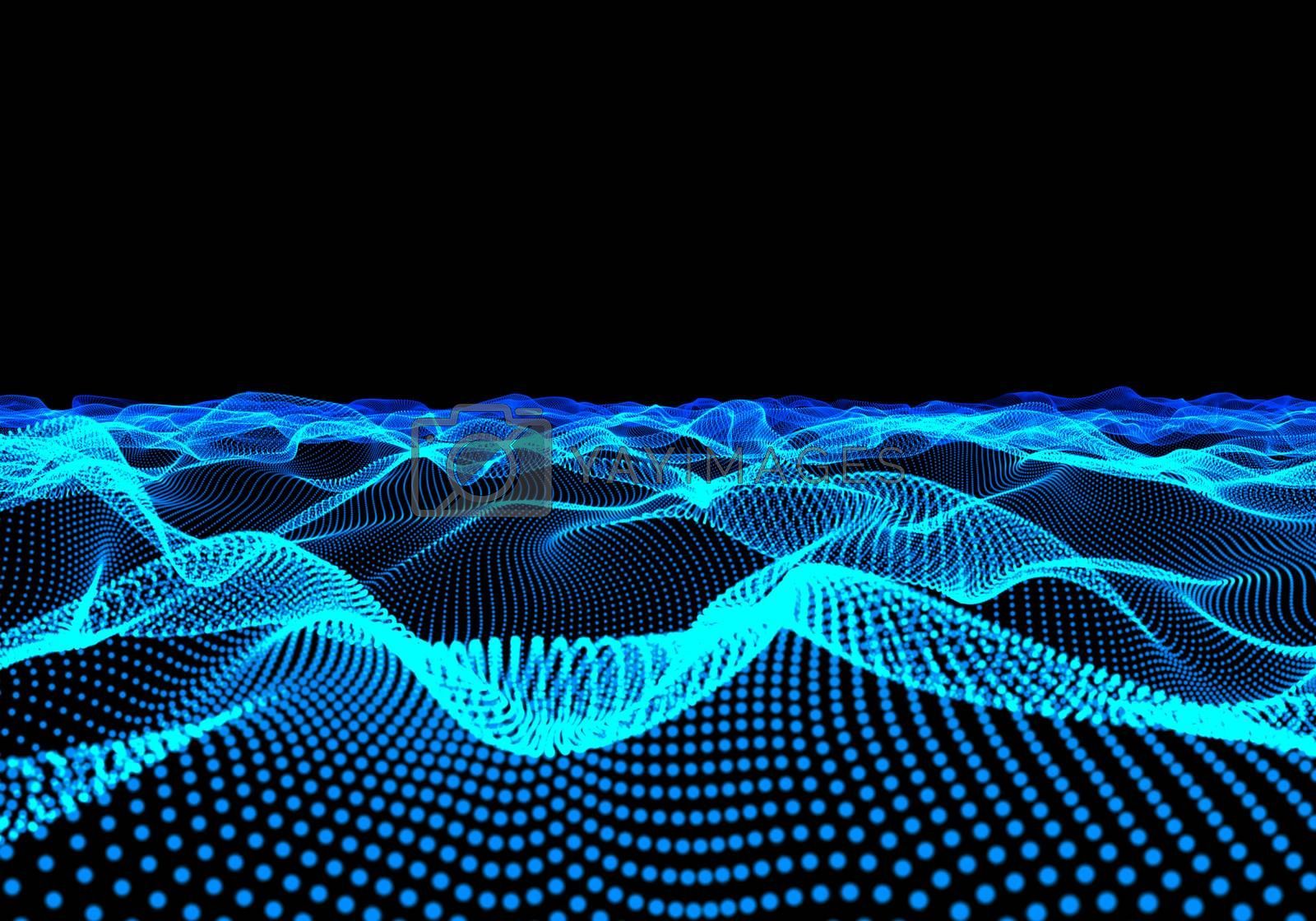 Three-dimensional illuminated abstract digital wave of glowing particles and wireframe. HUD element. Cyberspace field. Conceptual abstract technology background. 3D illustration