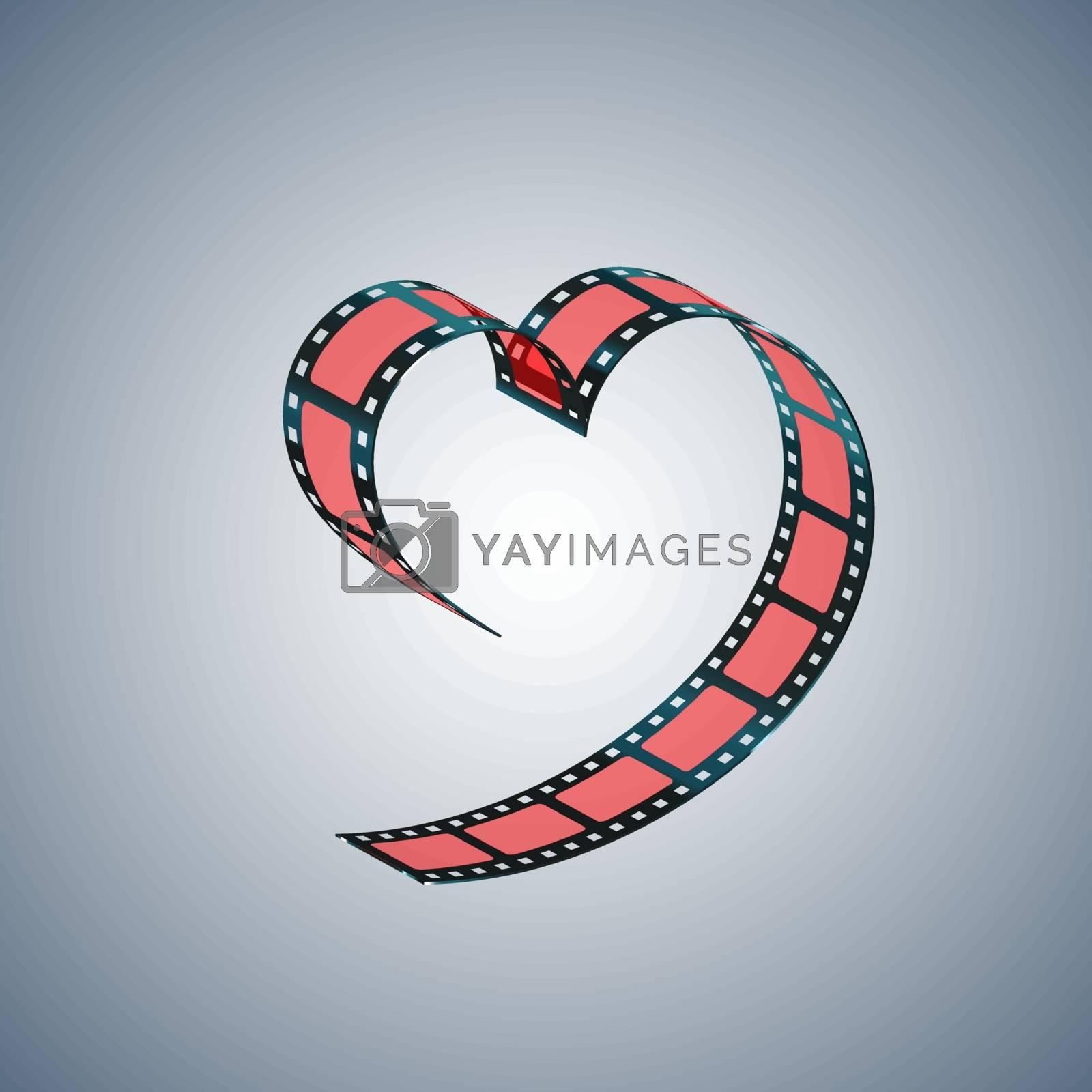 Red filmstrip folded in shape of a heart. Vector illustration