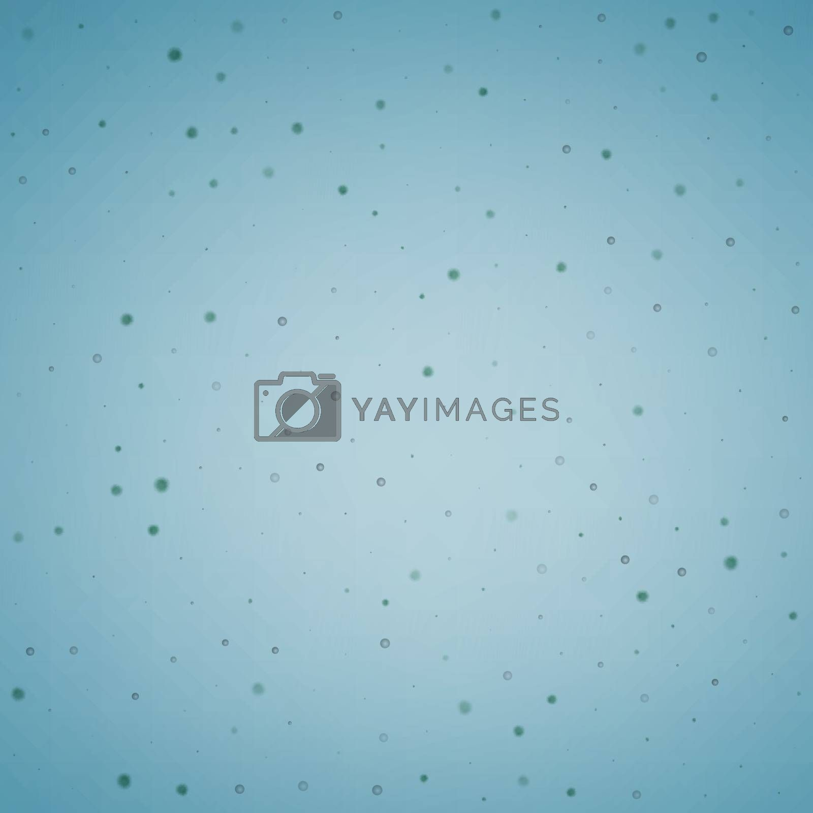 Abstract small spherical particles floating in liquid. Blue vector background illustration