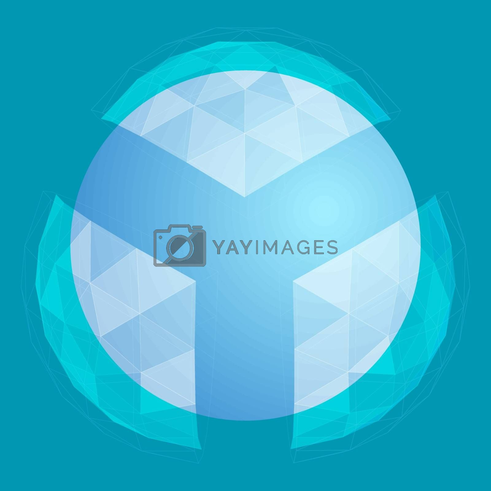Abstract blue 3D sphere model inside of polygonal glass shield. Shield container made of three pieces. Vector illustration.