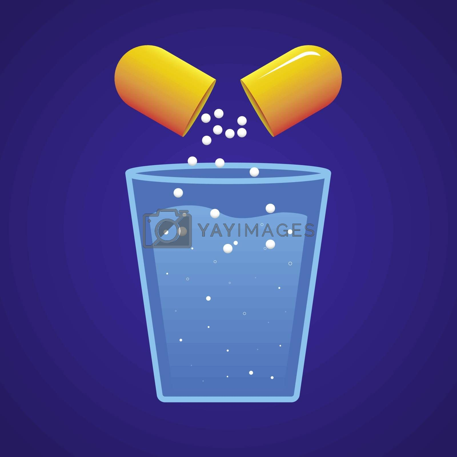 The drug content of the orange pill dissolving in a glass of water. Vector illustration