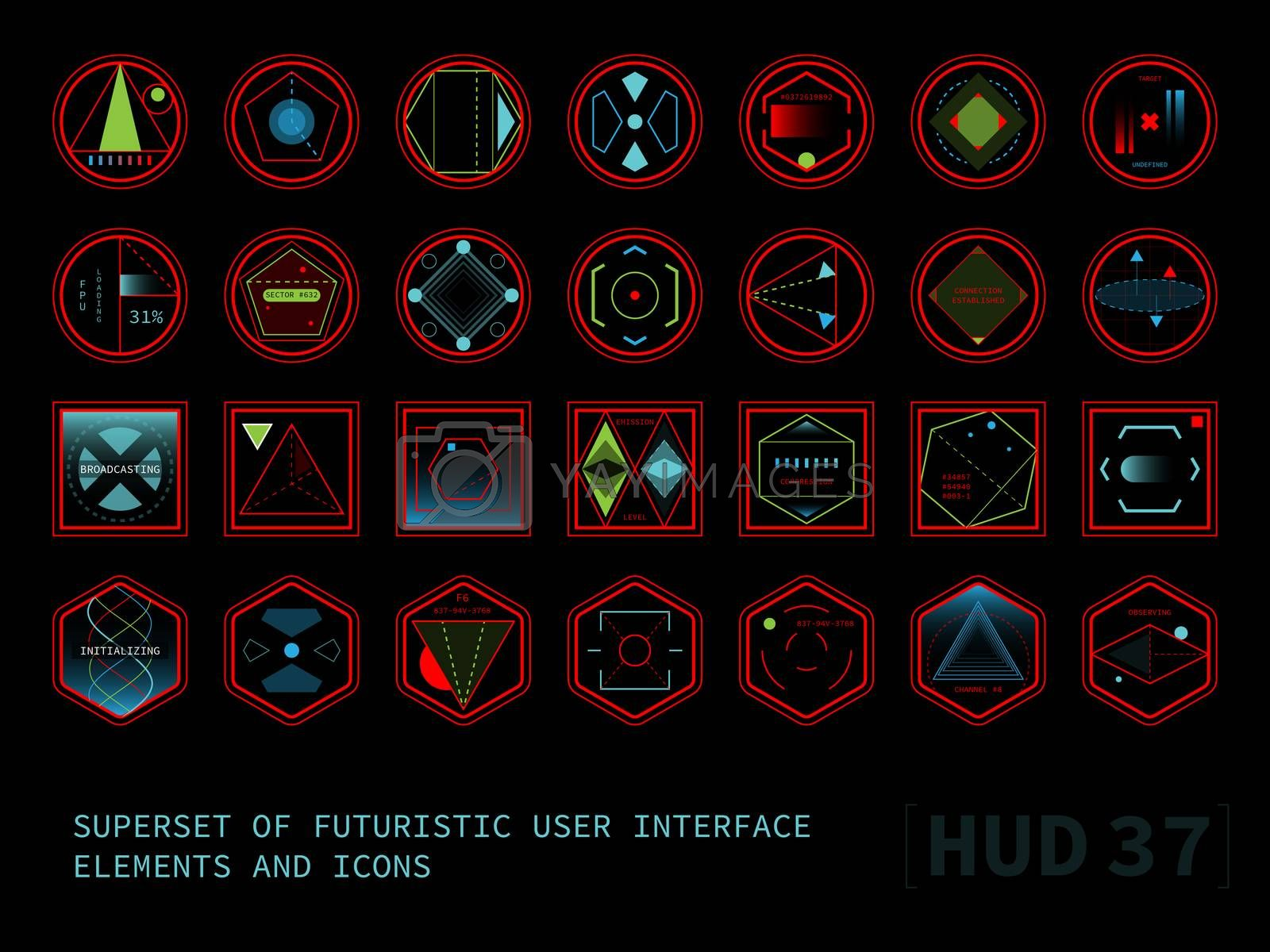 Set of conceptual futuristic display interface elements. Round, square and hexagonal shaped icons. Raster version