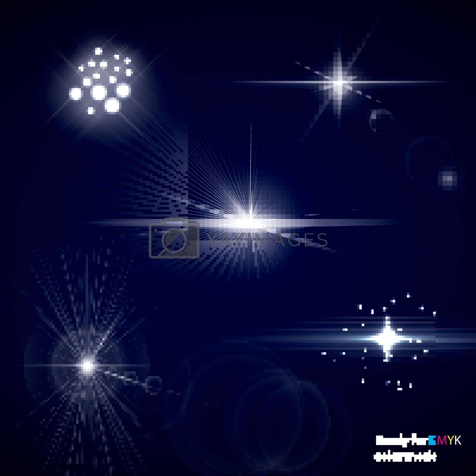 Set of transparent stars and sparkles elements ready for any background with screen or add blending modes. Vector illustration, CMYK color mode