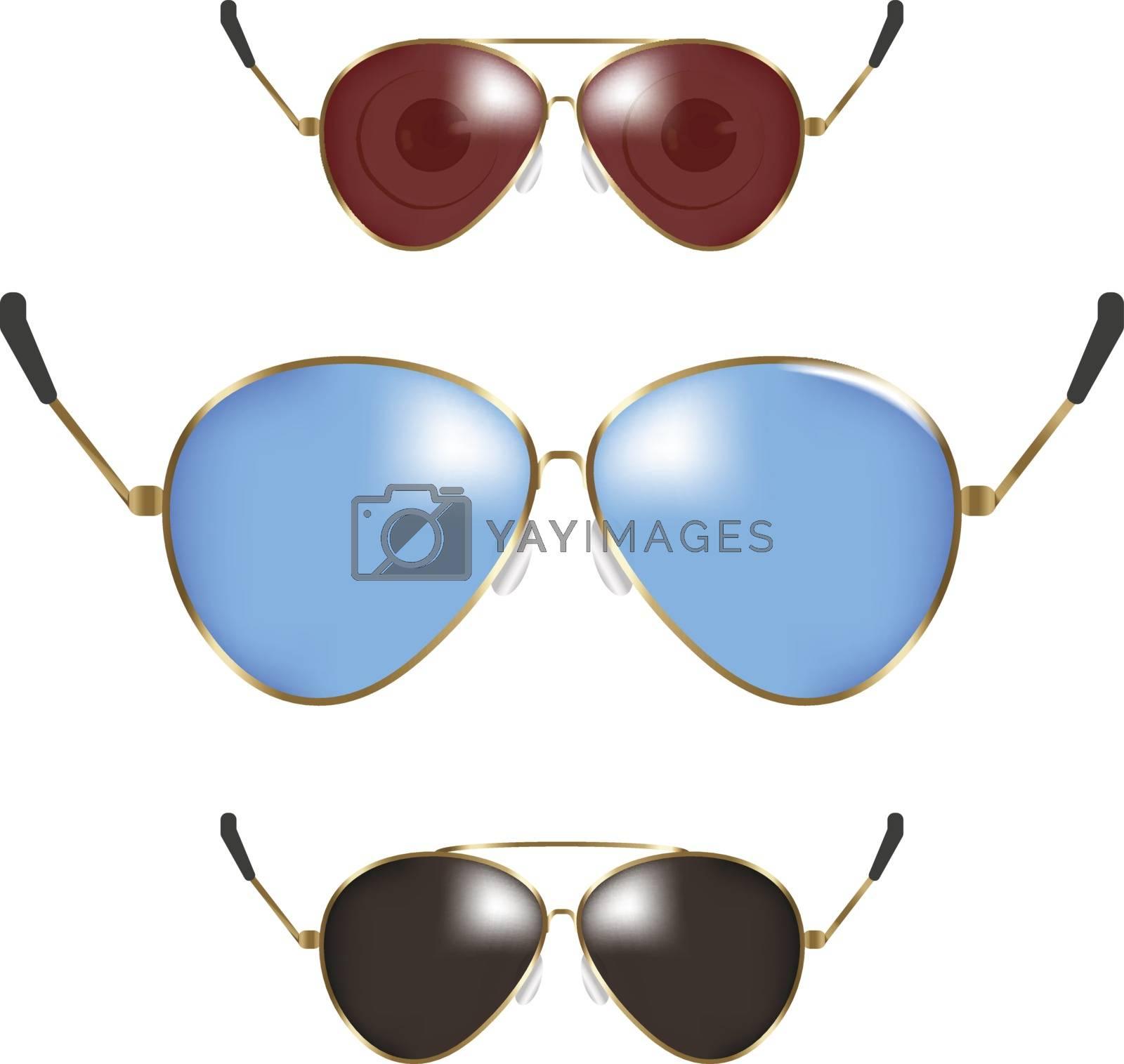 Classic sunglasses set. Summer eyeglasses. Retro fashion collection. Summer vacation item. Semitransparent sunglasses for tropical trip. Vector illustration.