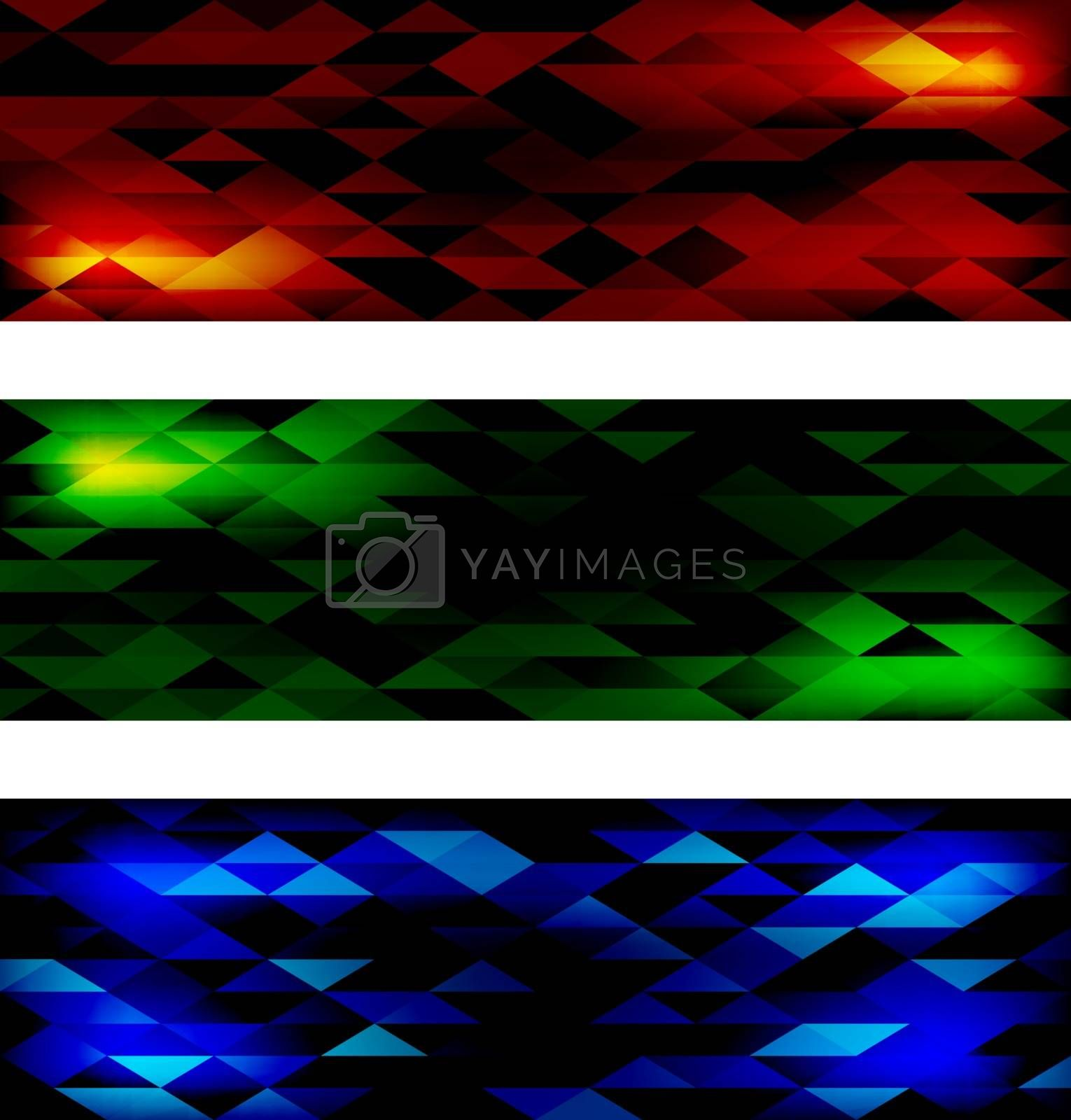 Creative Triangular Polygonal Colorful Mosaic Banners. Set of three different color themes, red, green and blue. Vector illustration