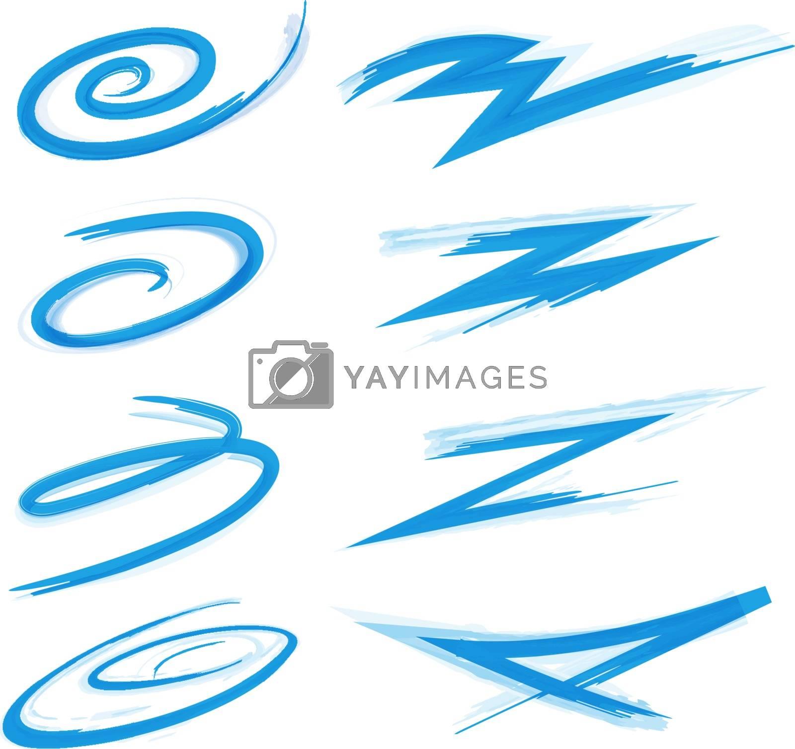 Abstract swirl swoosh and graffiti stroke elements set. Vector illustration