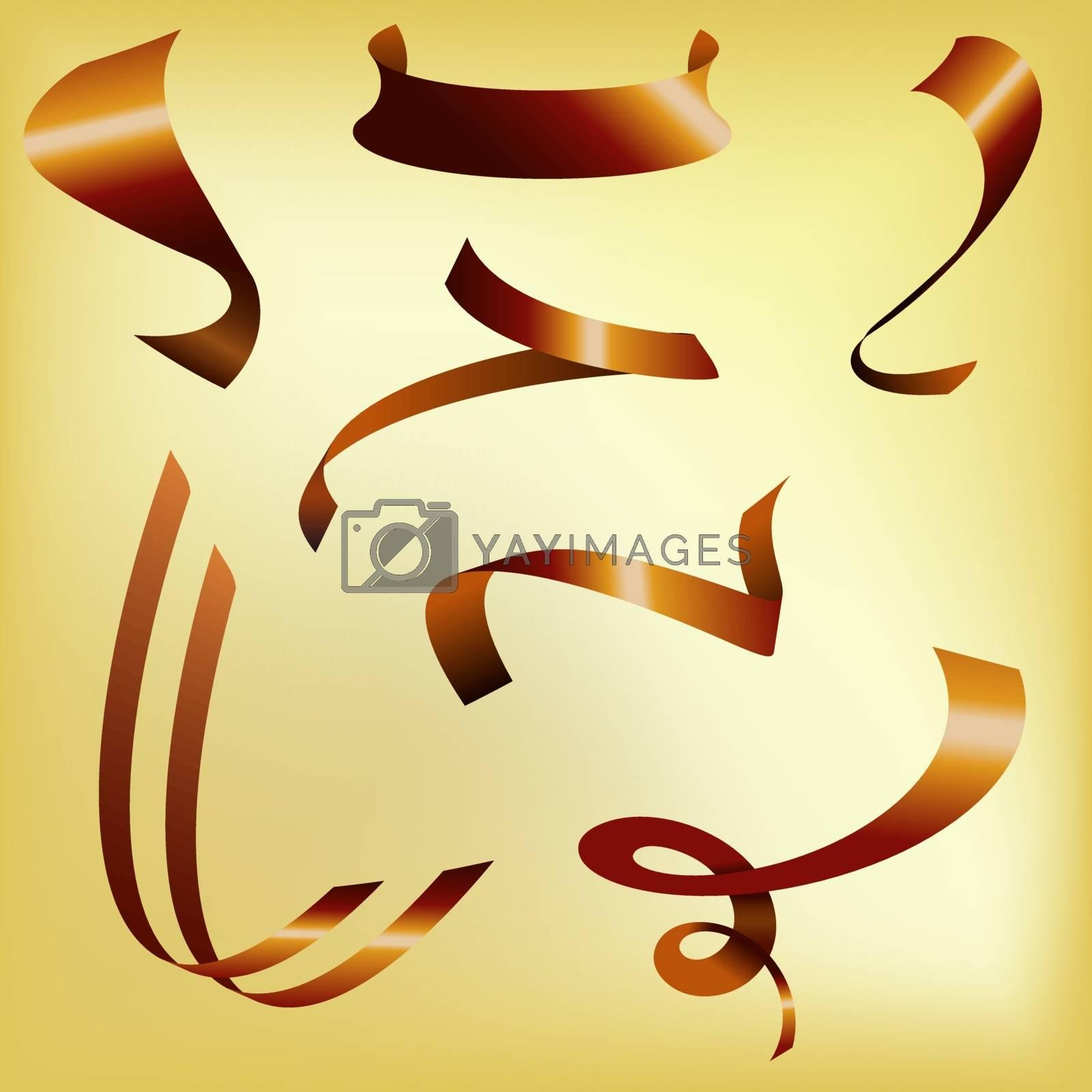 Big red holiday ribbons set. Vector Illustration