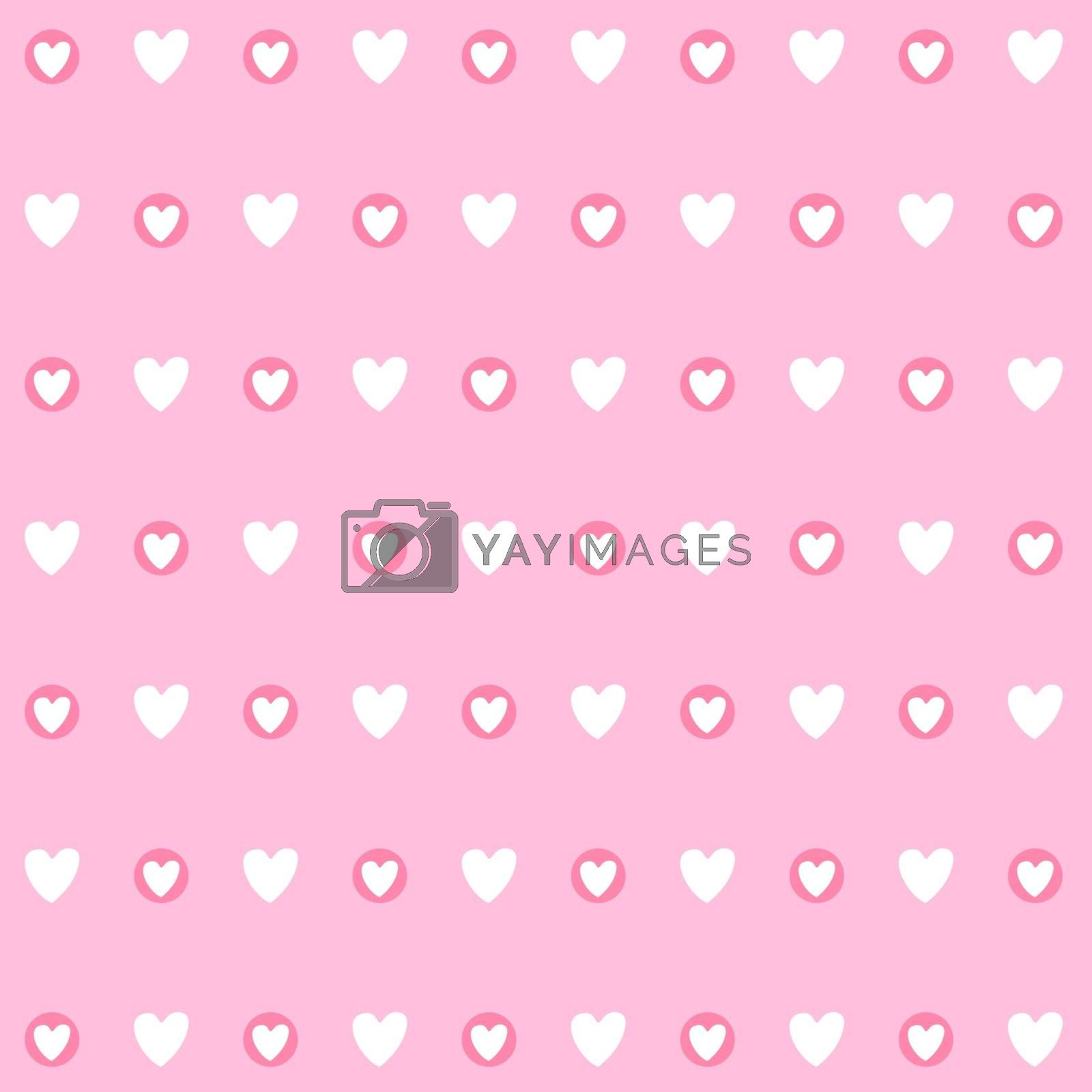 Hand drawn pink hearts seamless vector pattern background. Pattern swatch included.