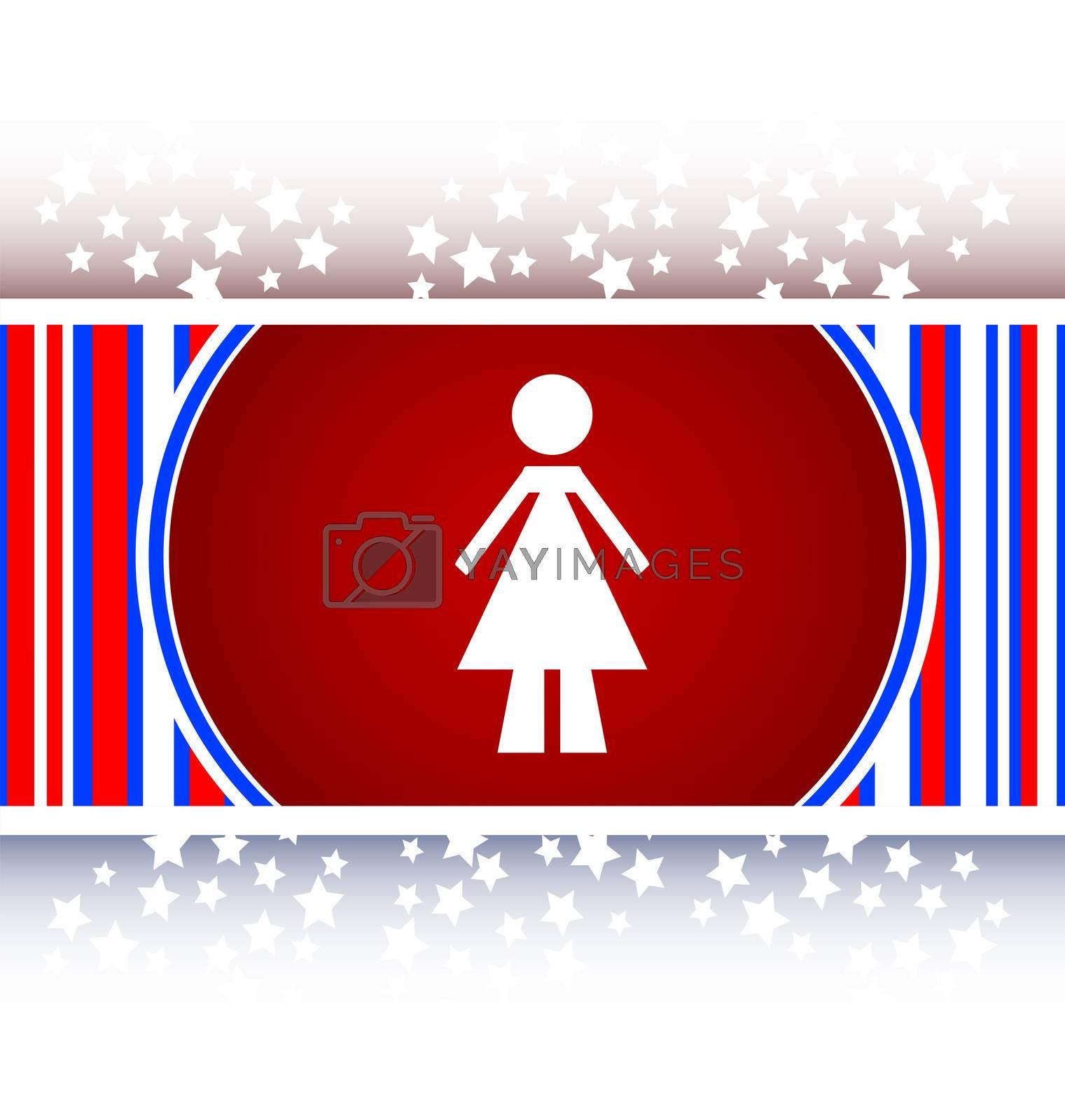 woman round glossy web icon
