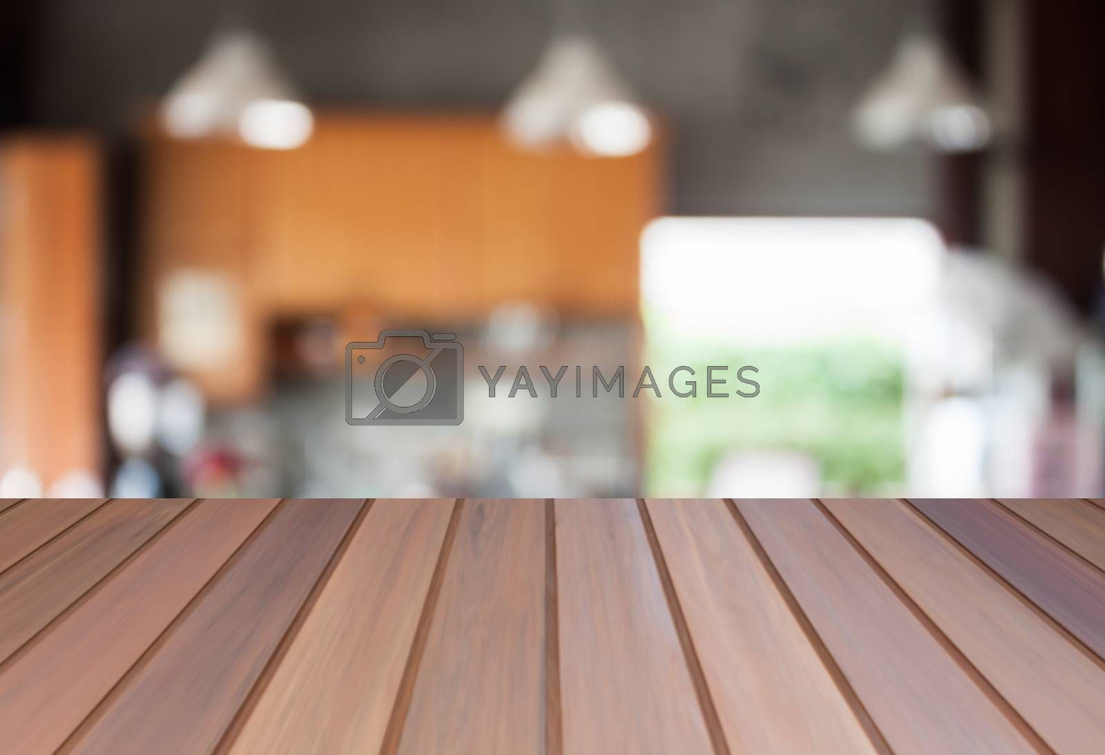 Abstract blur coffee shop background with empty table top. For product display