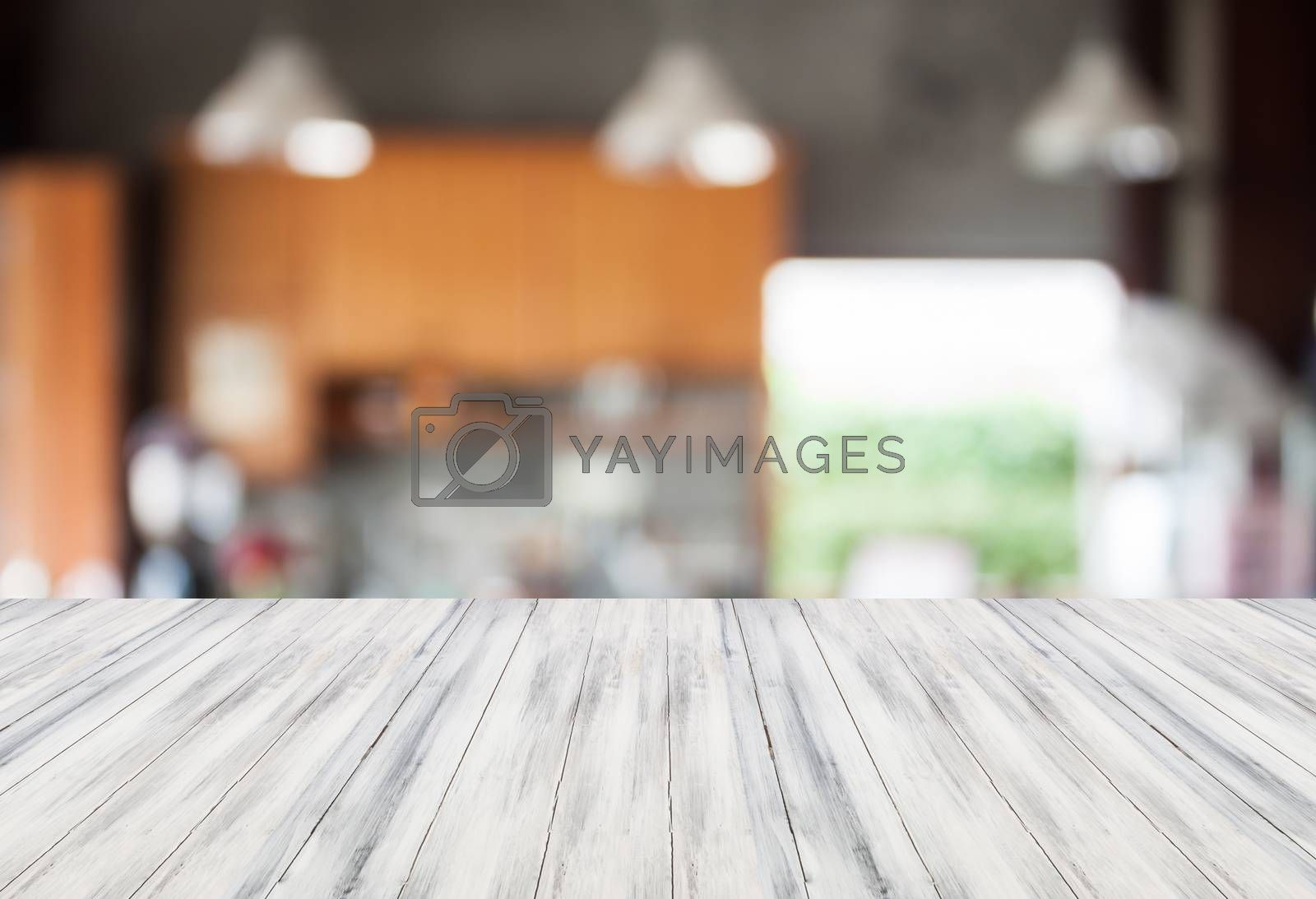 Abstract blur coffee shop background with white empty table top. For product display