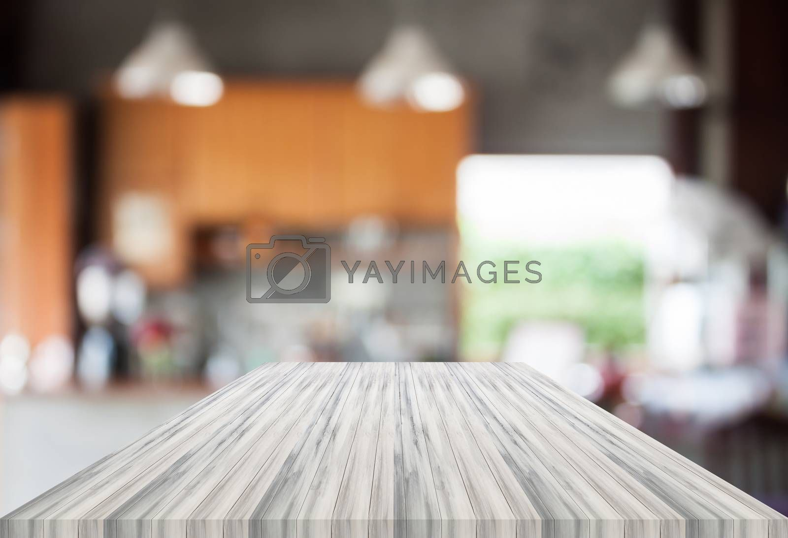 Abstract blur coffee shop with white empty table top. For product display