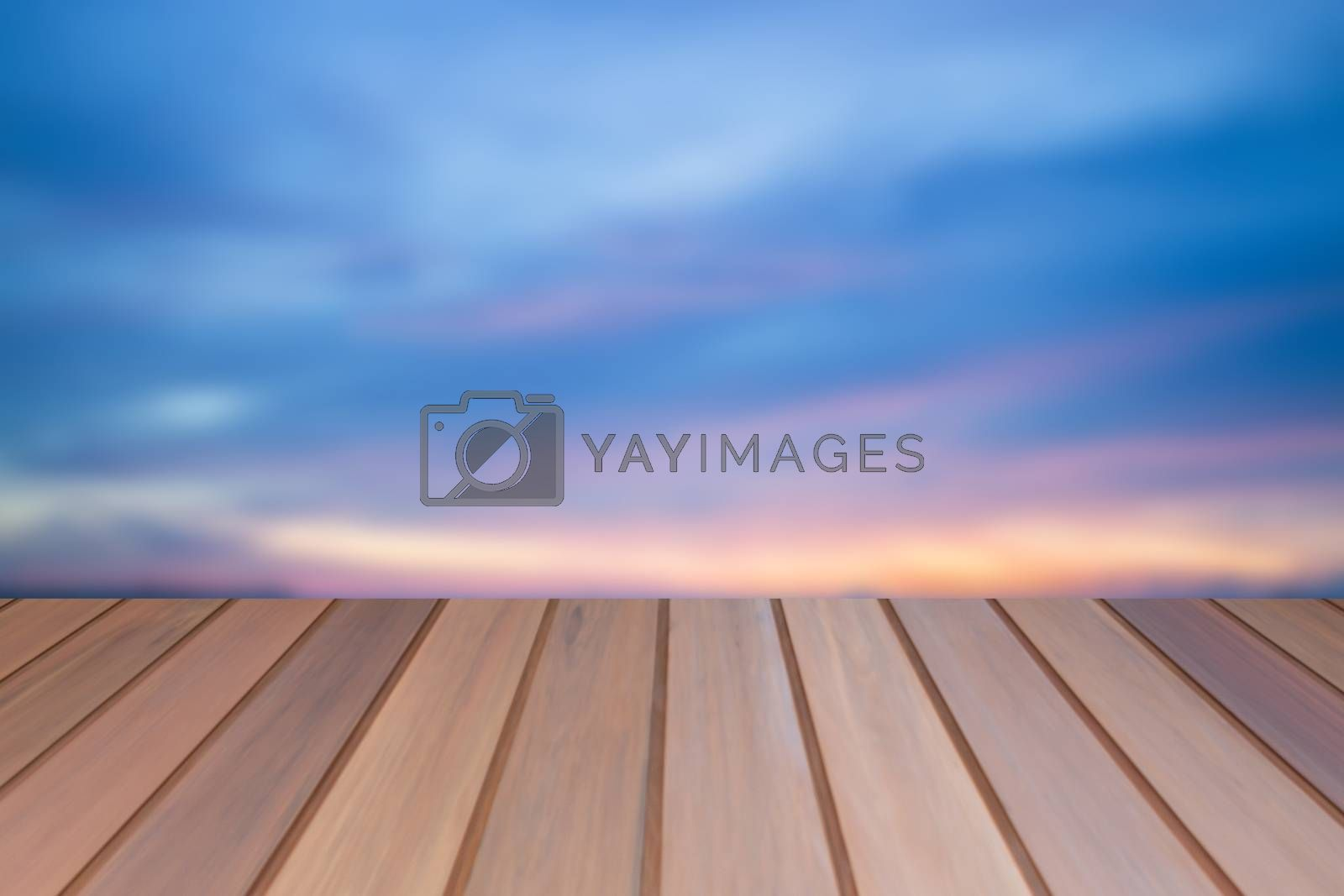 Empty table top wooden with sunset background. For product display