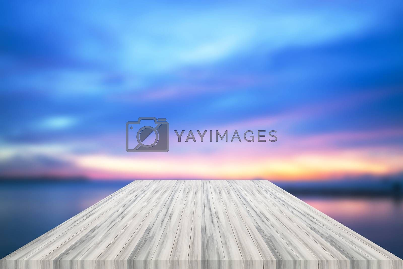 Empty white table top with sunset background. For product display