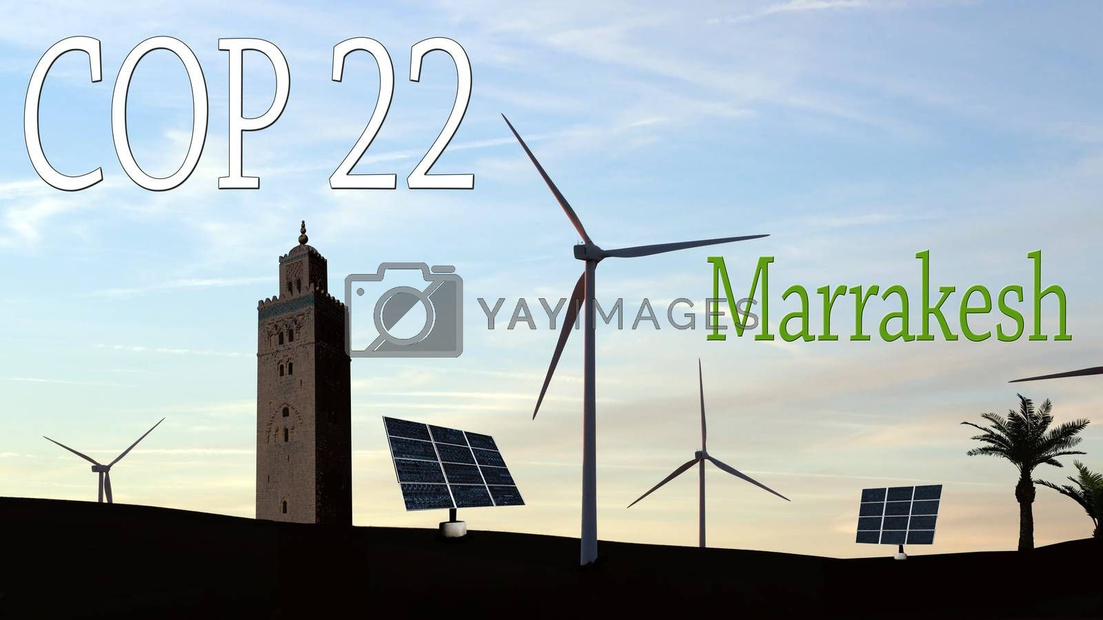 COP 22 in Marrakesh, Morocco - Wind Turbines and Solar Panels in a Moroccan Landscape