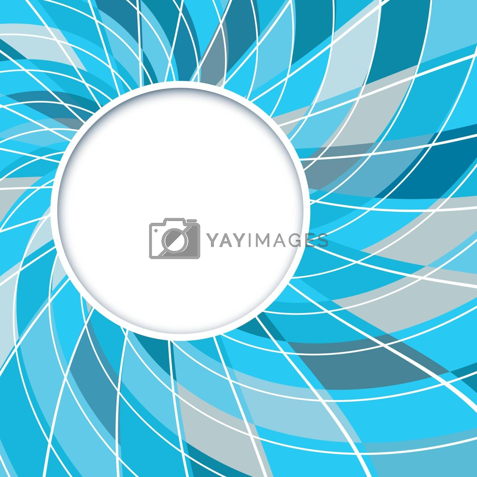 Abstract white round shape with digital blue and grey pattern. Vector background
