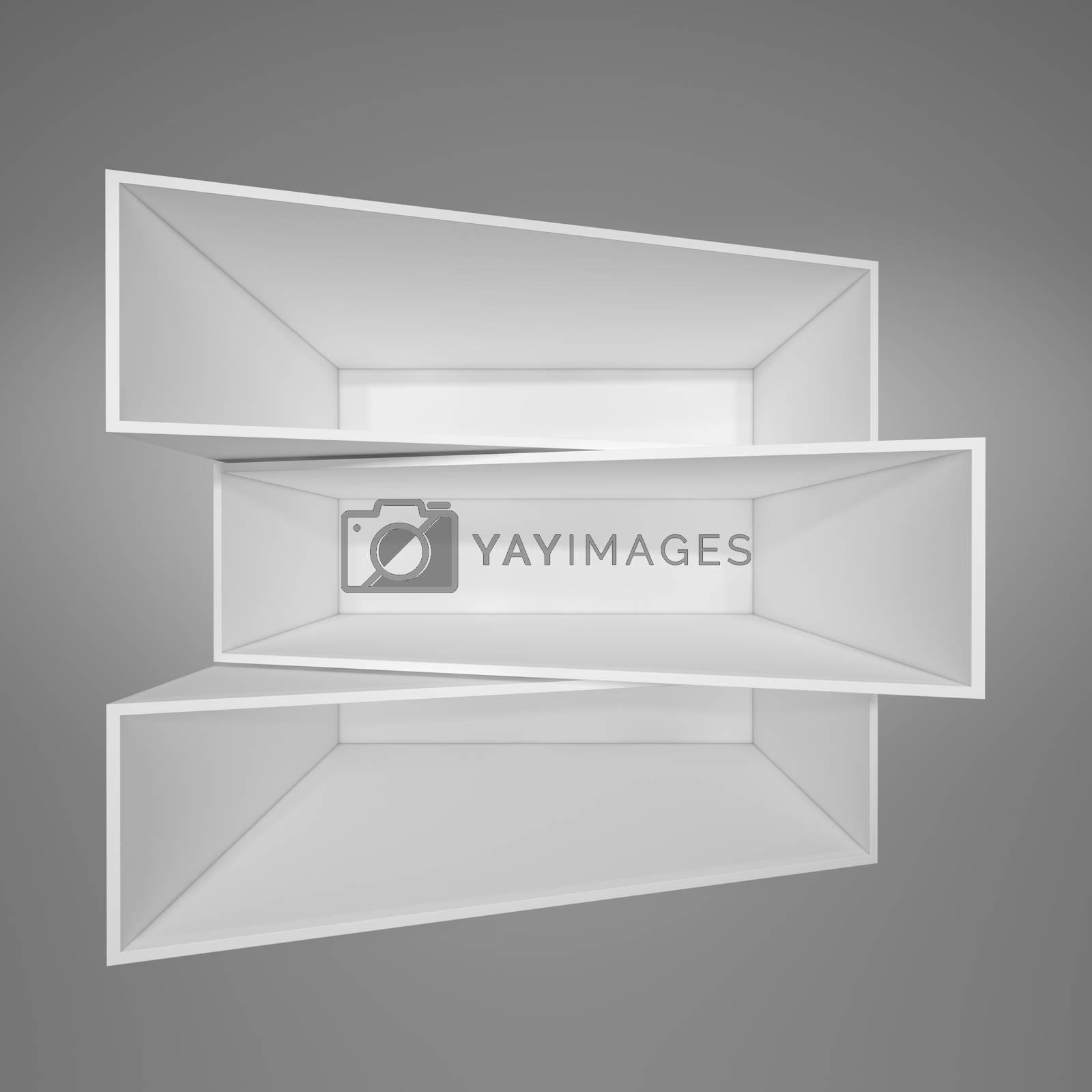 Illuminated white shelf for presentations. Gray background. 3D illustration