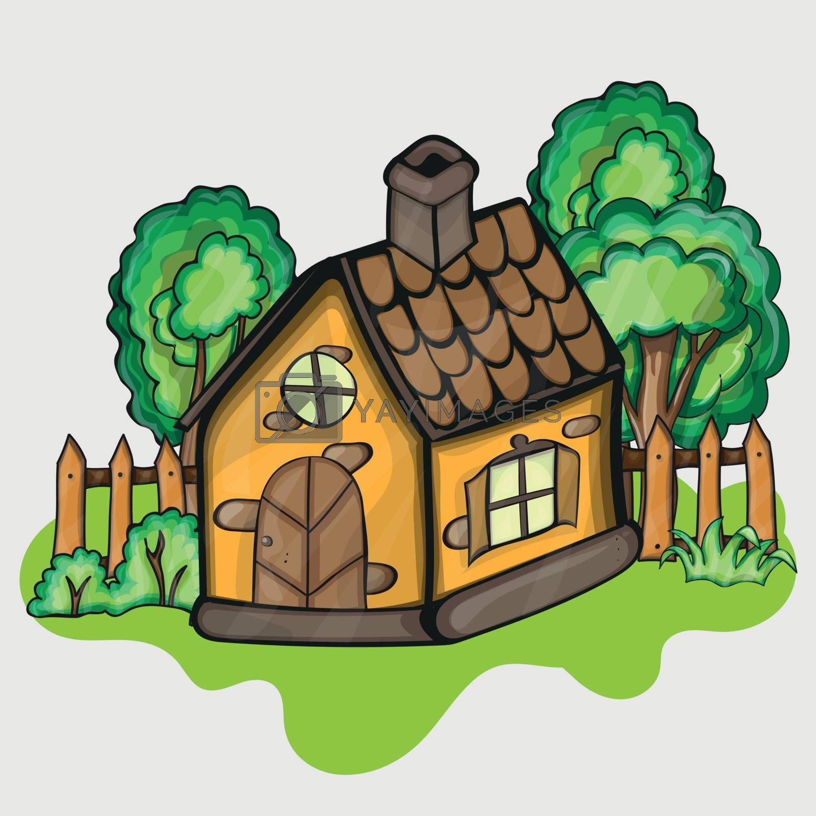 Illustration of a cartoon house in spring or summer season
