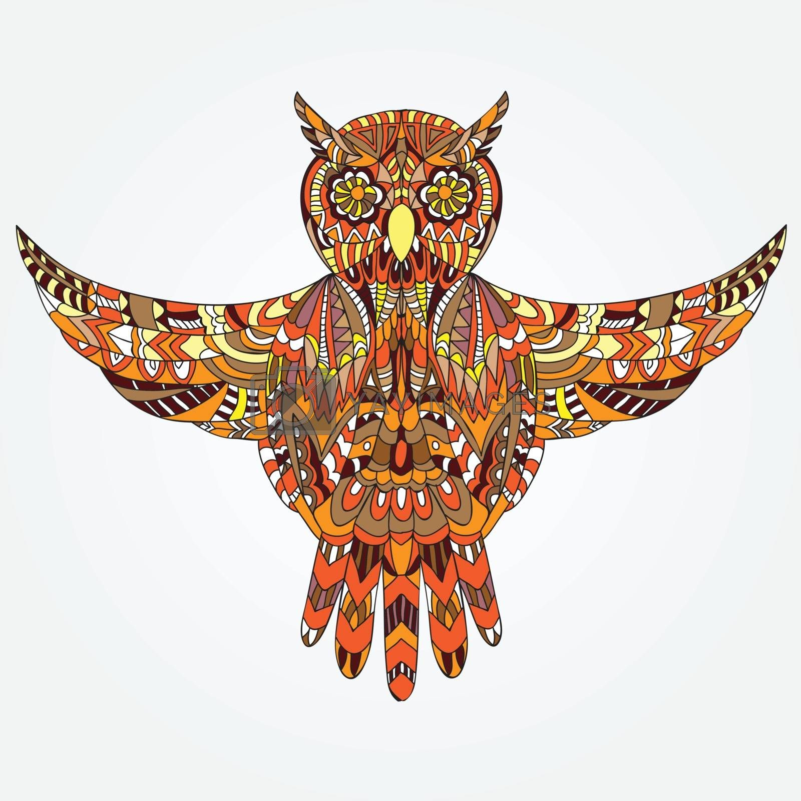Ornamental hand drawn owl - Vector illustration - doodle style