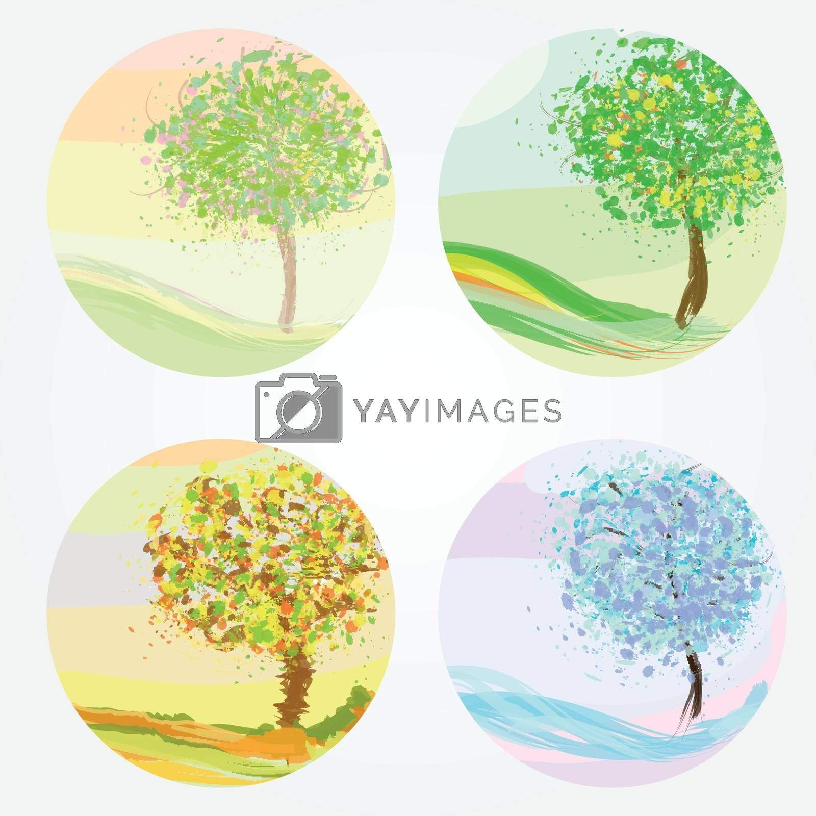 Four seasons - spring, summer, autumn, winter. Vector illustration for your design