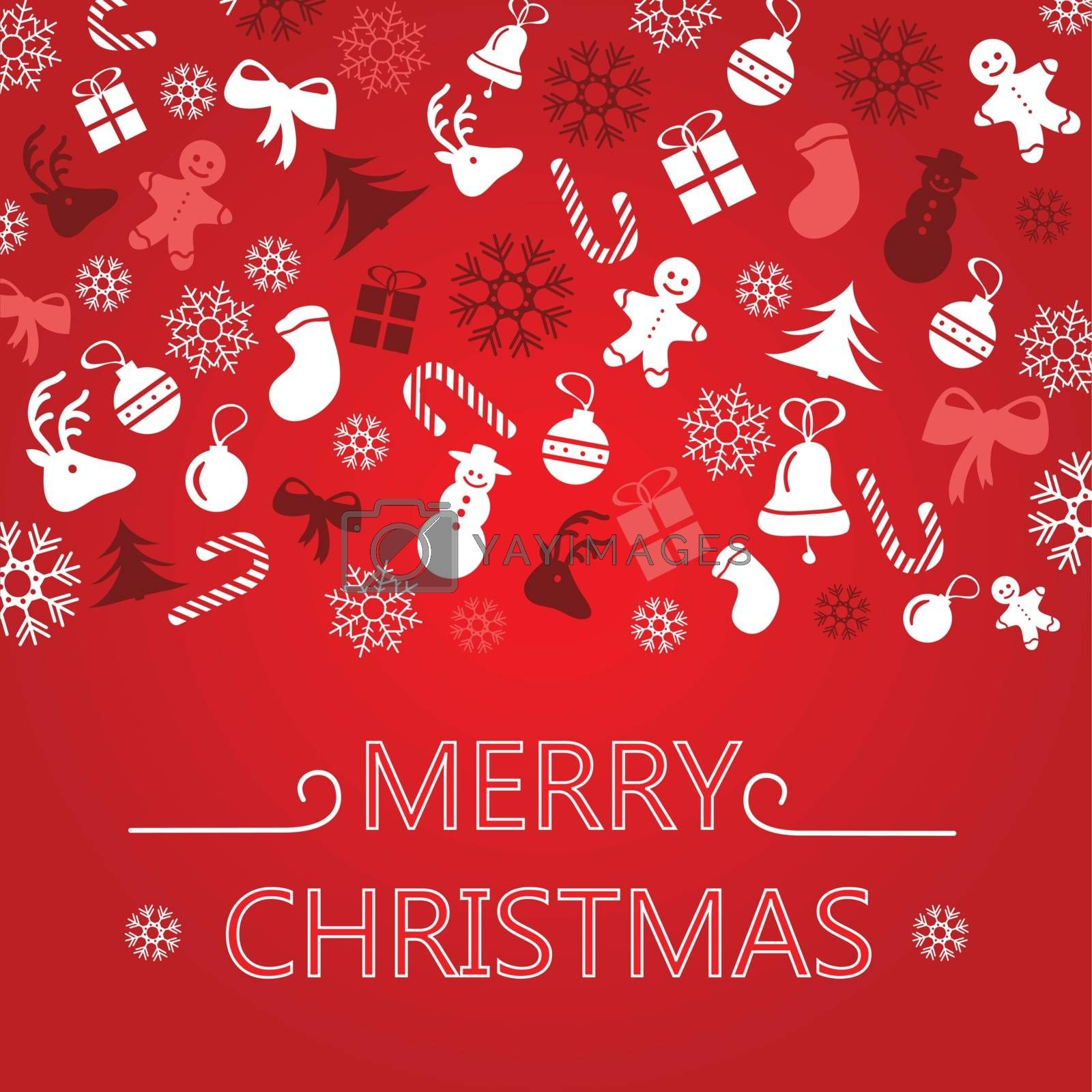 Bright Christmas Greeting Card - red vector illustration