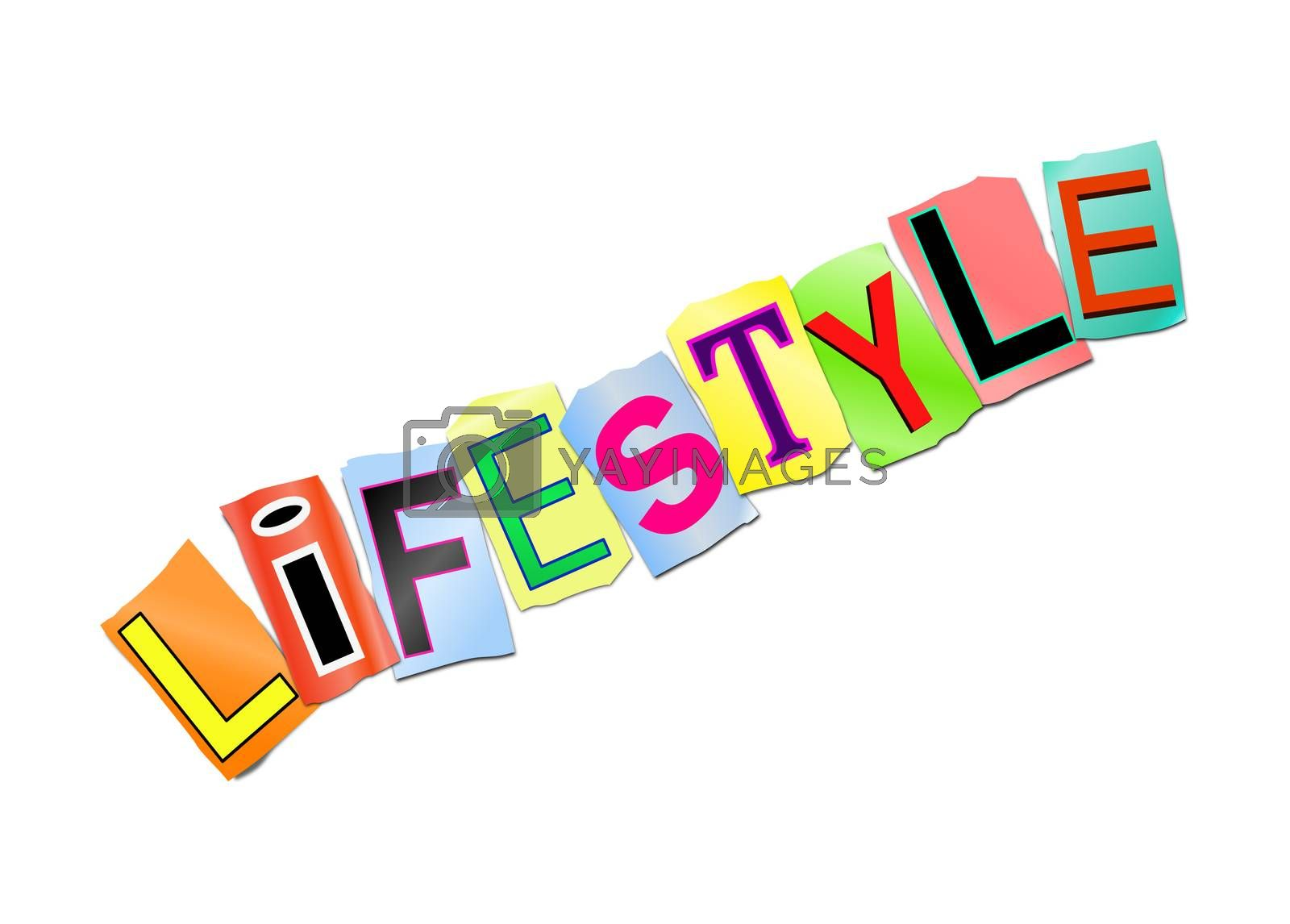 Illustration depicting a set of cut out printed letters arranged to form the word lifestyle.