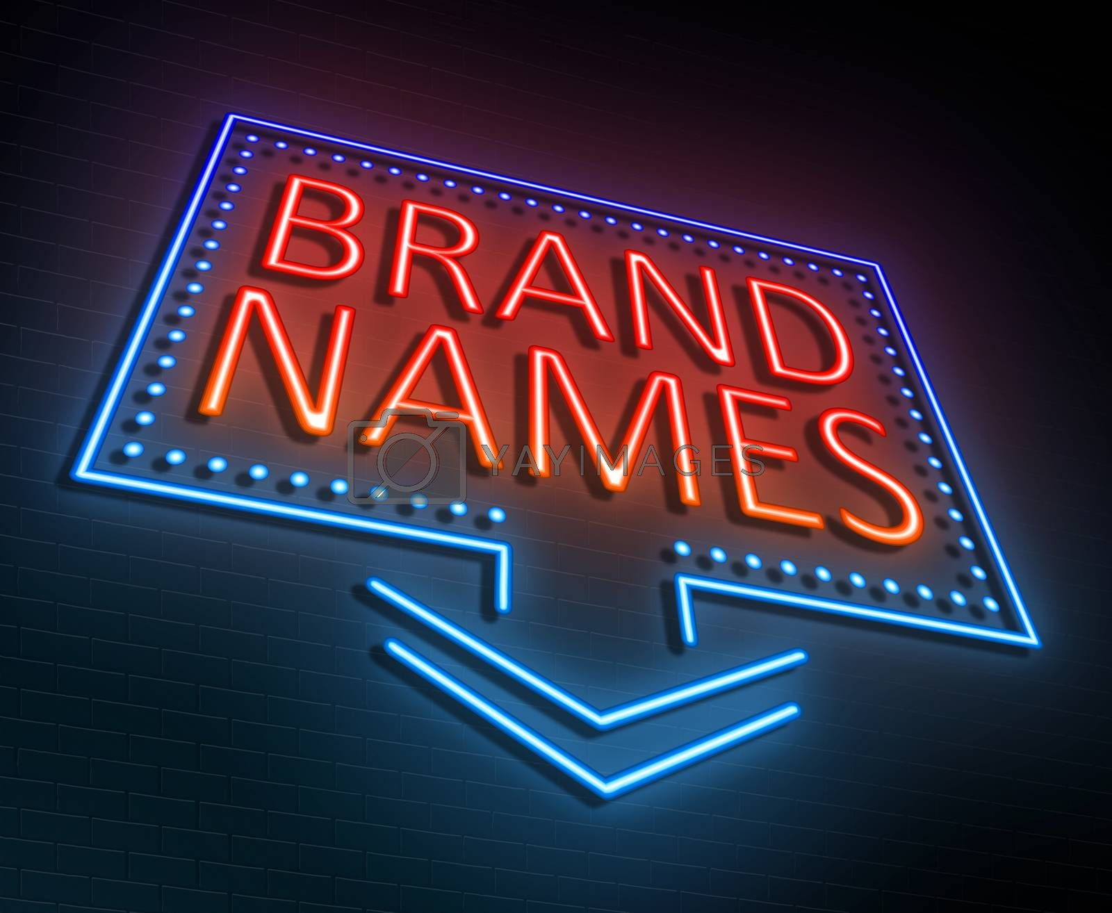 Illustration depicting an illuminated neon sign with a brand names concept.