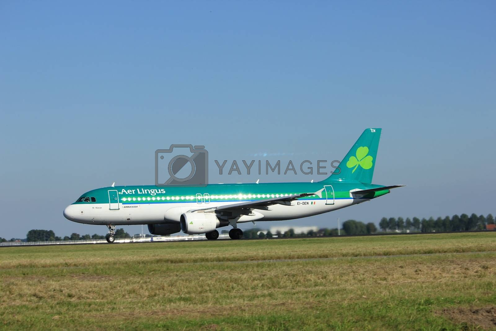 Amsterdam, the Netherlands  - August, 18th 2016: EI-DEN Aer Lingus Airbus A320-214, taking off from Polderbaan Runway Amsterdam Airport Schiphol