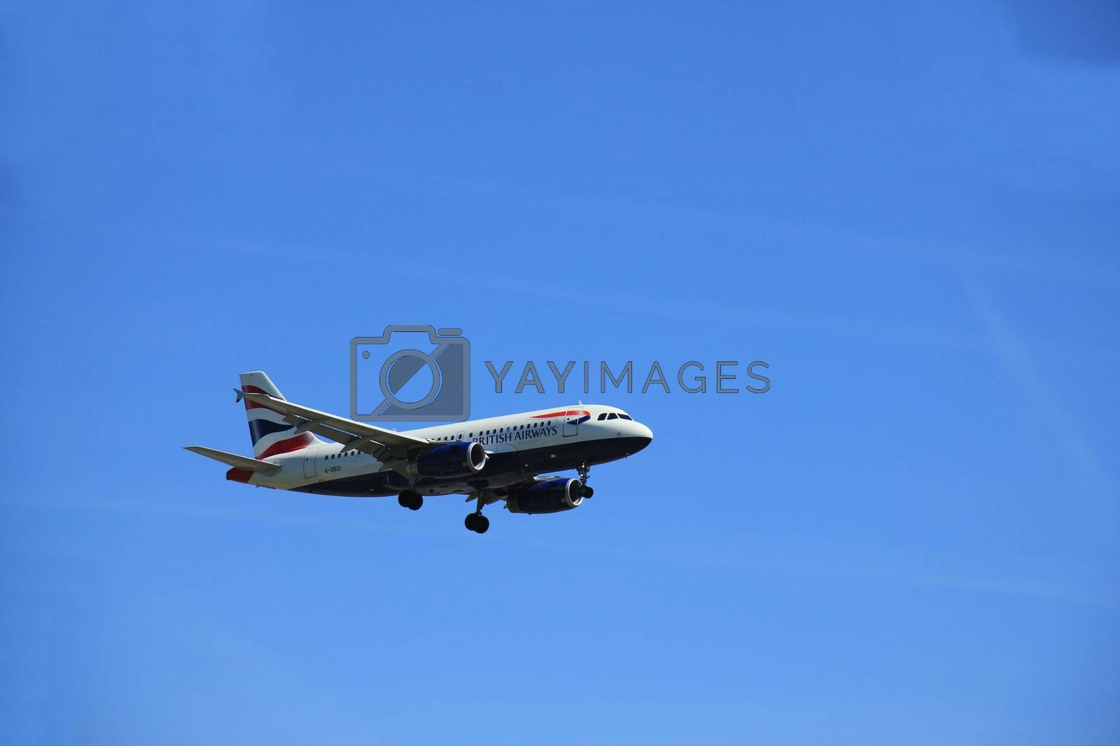 Amsterdam the Netherlands - May, 5th 2016:  G-DBCI British Airways Airbus A319 approaching Polderbaan runway, arriving from London, United Kingdom