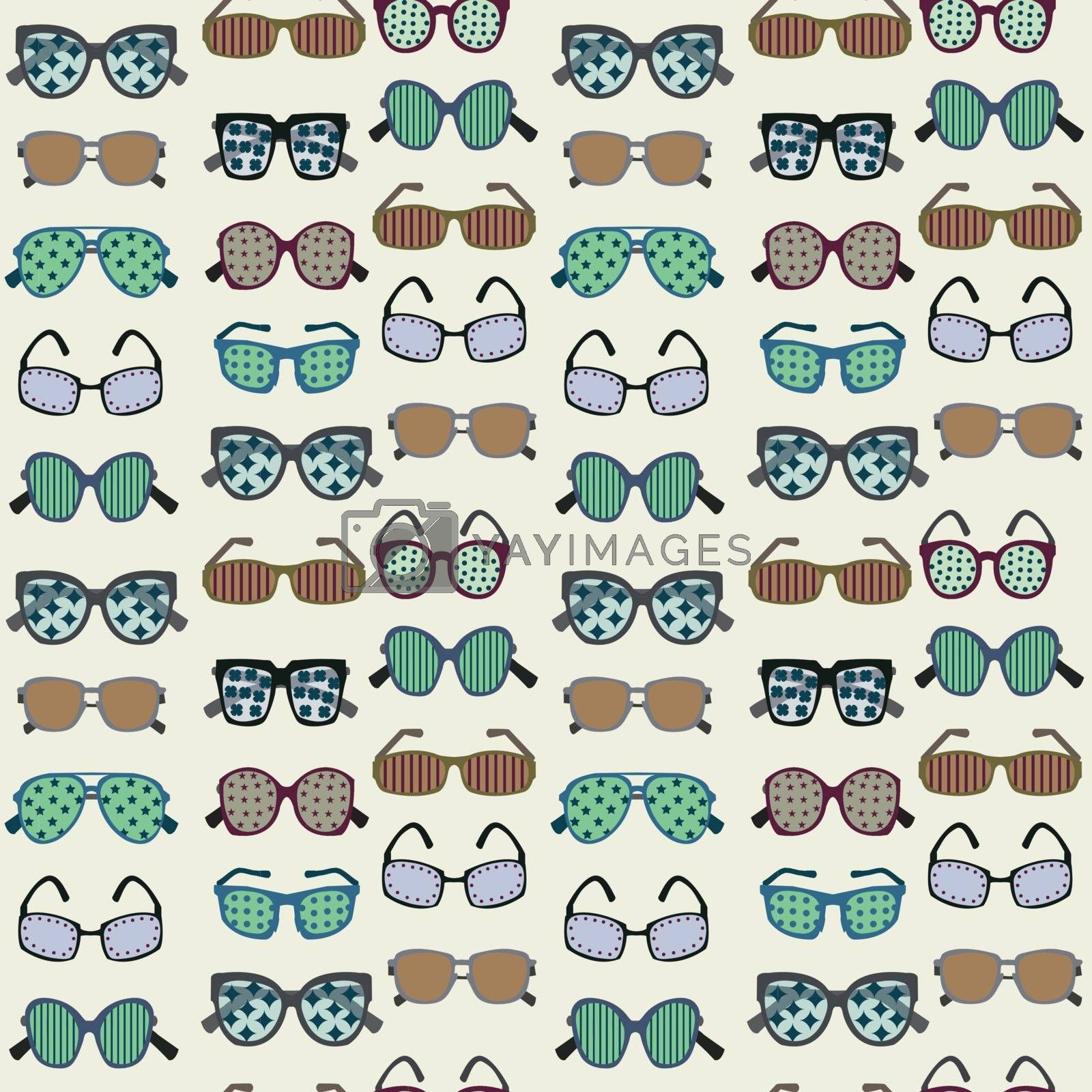 Vector background of fashion colored  Sunglasses Silhouettes  in a variety of shapes - Illustration