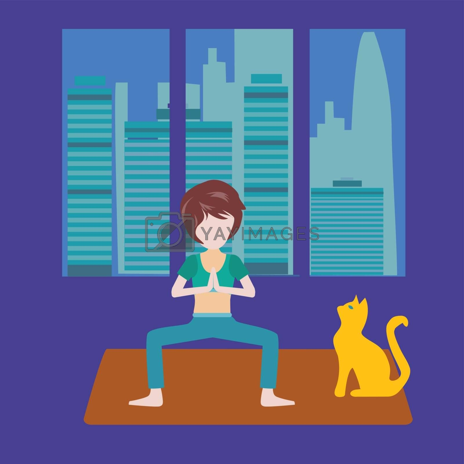 Vector background Girl is doing yoga at home. Healthy lifestyle illustration