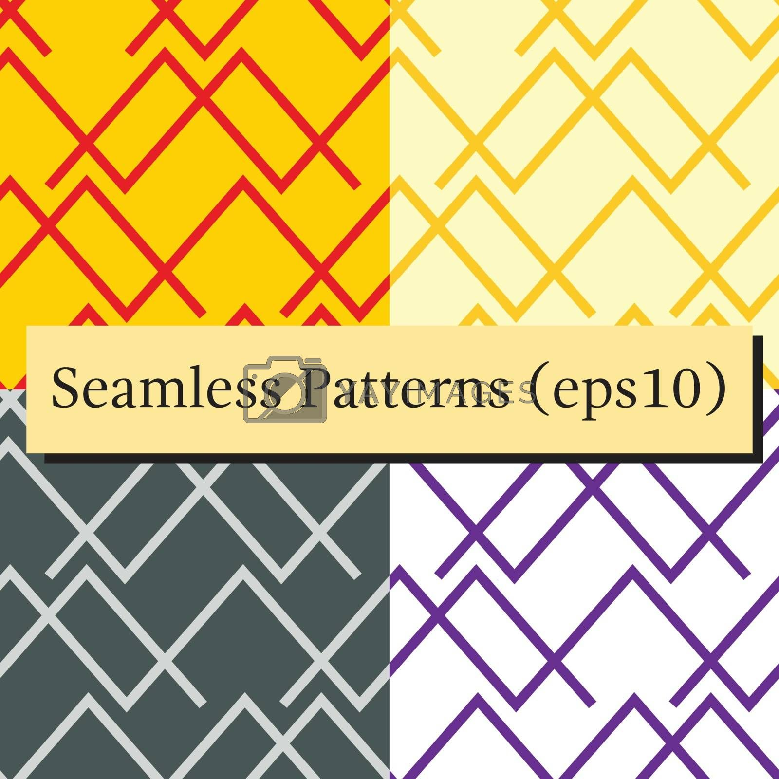 Seamless horizontal lines patterns set in different colors. Good for textile, package or other decoration.