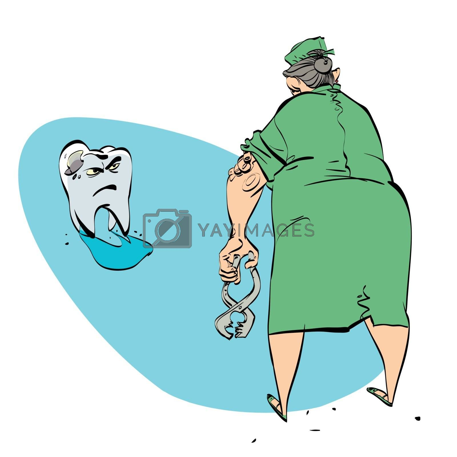 bad tooth and the dentist, color vector comic illustration. Woman doctor wants to pull a tooth