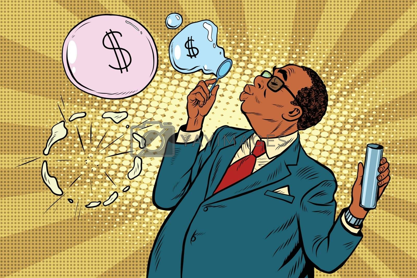 business boss and financial bubbles, pop art retro vector illustration. Scammers and politicians