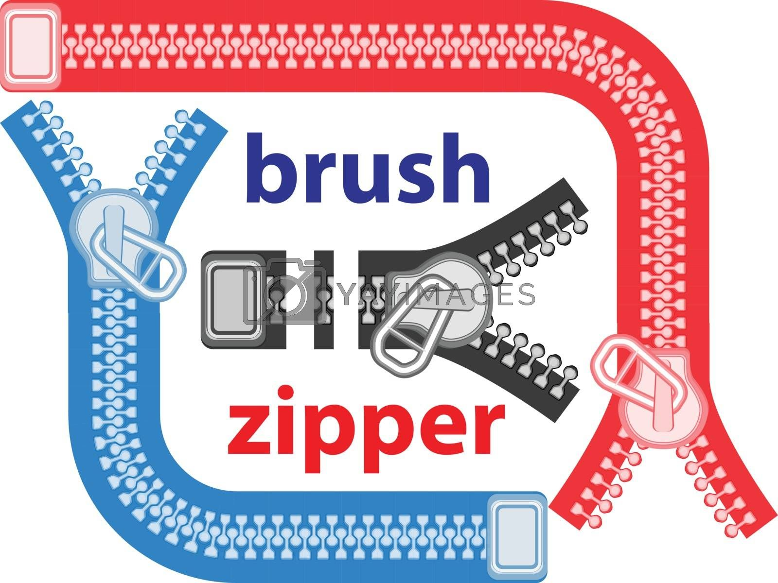seamless a vector brush - a fastener zipper