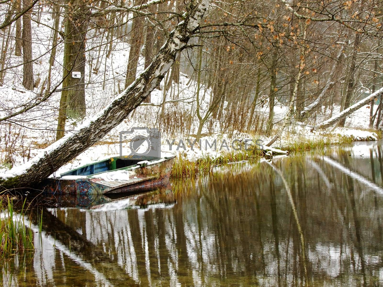 Old Boat floating on cold Water of Lake in the middle of Forest