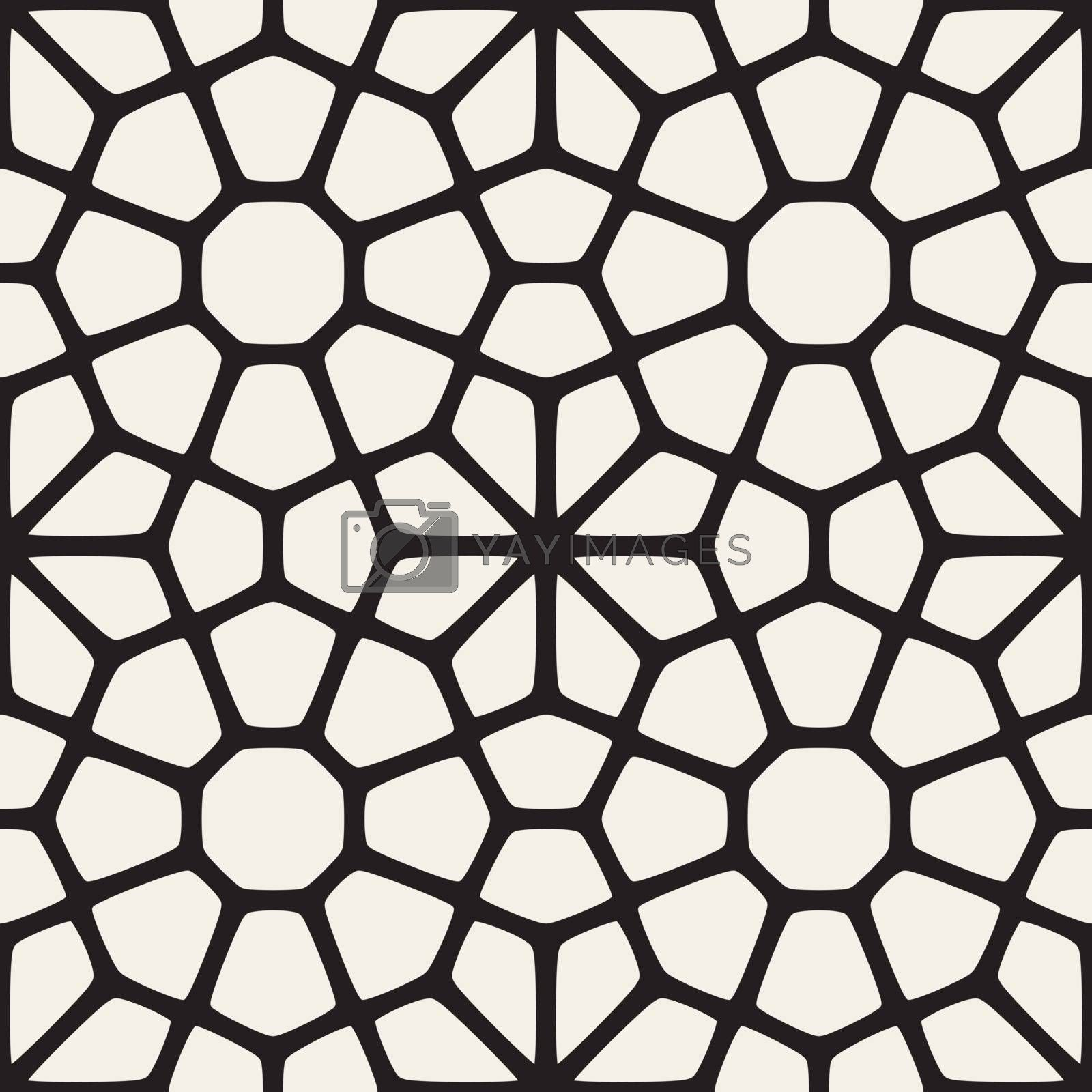 Vector Seamless Black and White Mosaic Lattice Pattern. Vector Seamless Black and White Pattern.