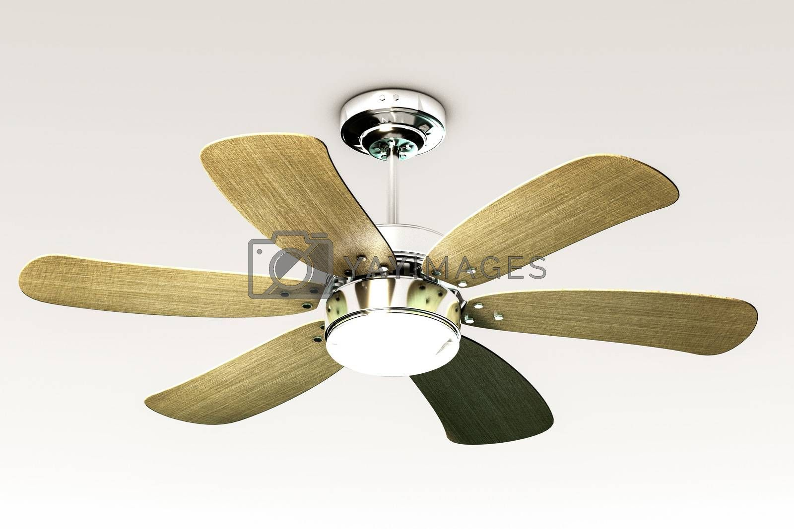 3d illustration of a ceiling fan isolated on white background
