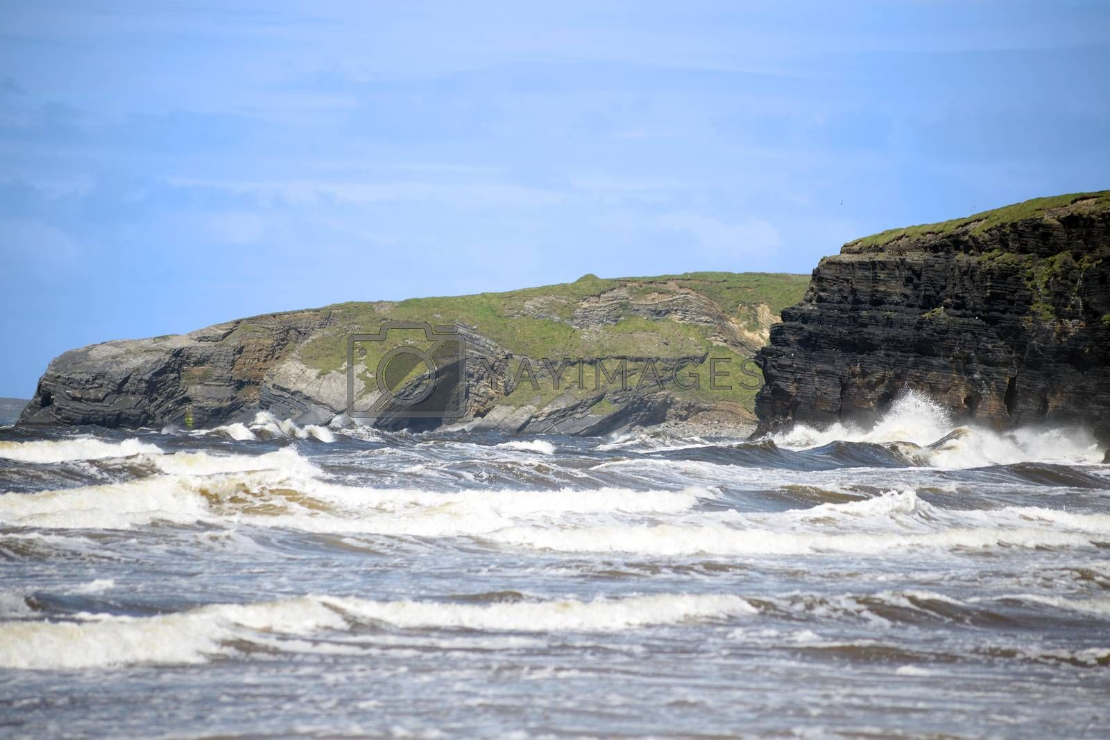 waves and cliffs on the wild atlantic way in Ballybunion county Kerry Ireland