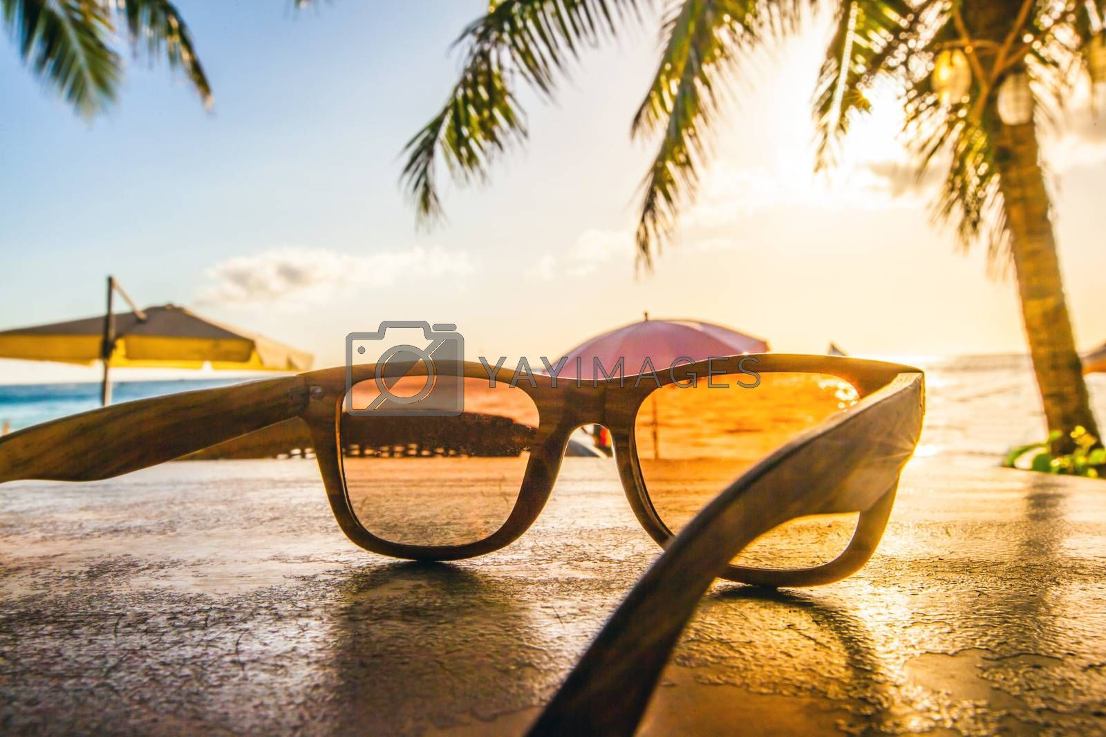 Sunglasses on tropical beach with palms at sunset