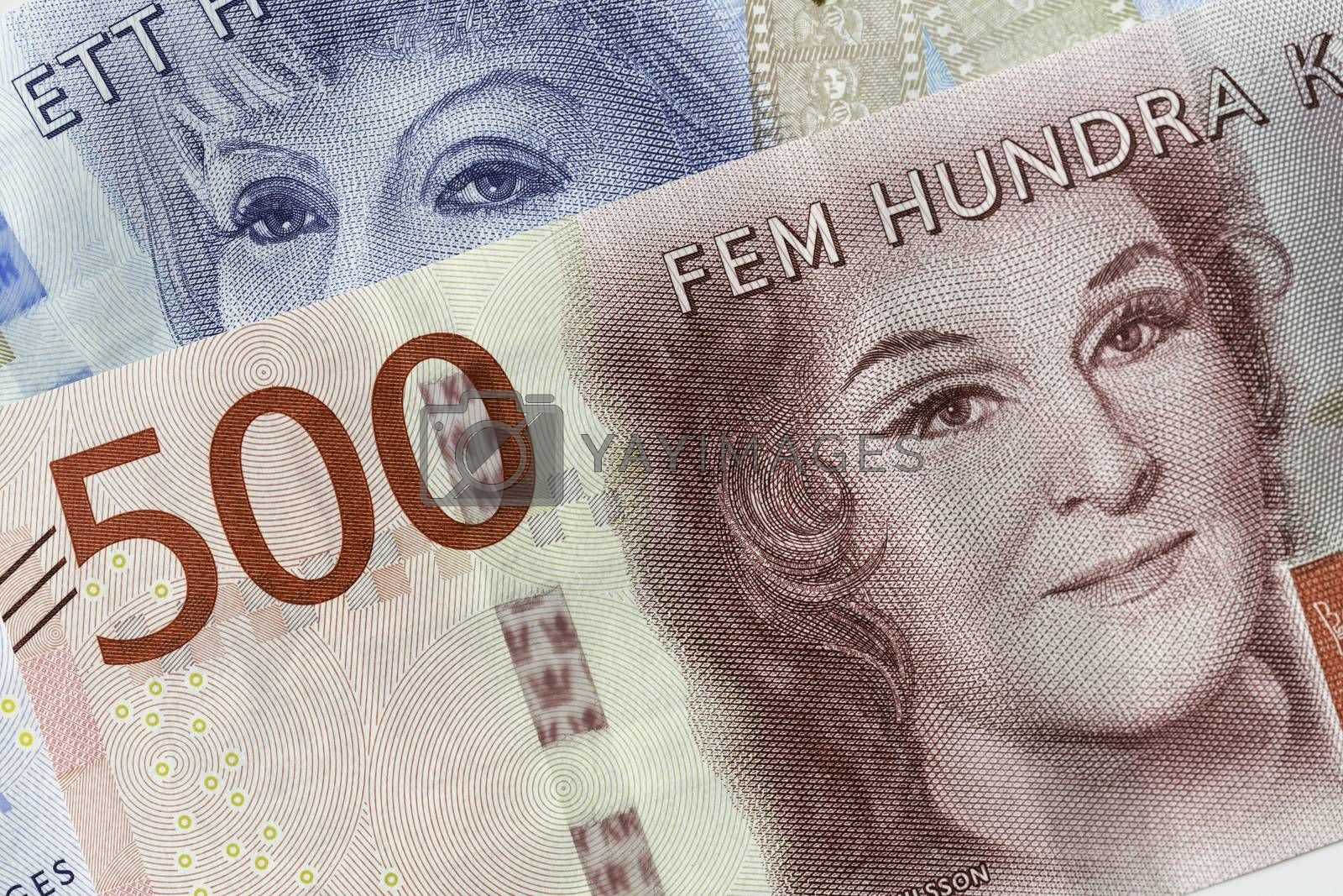 Swedish Currency (100 and 200 notes) Close Up.