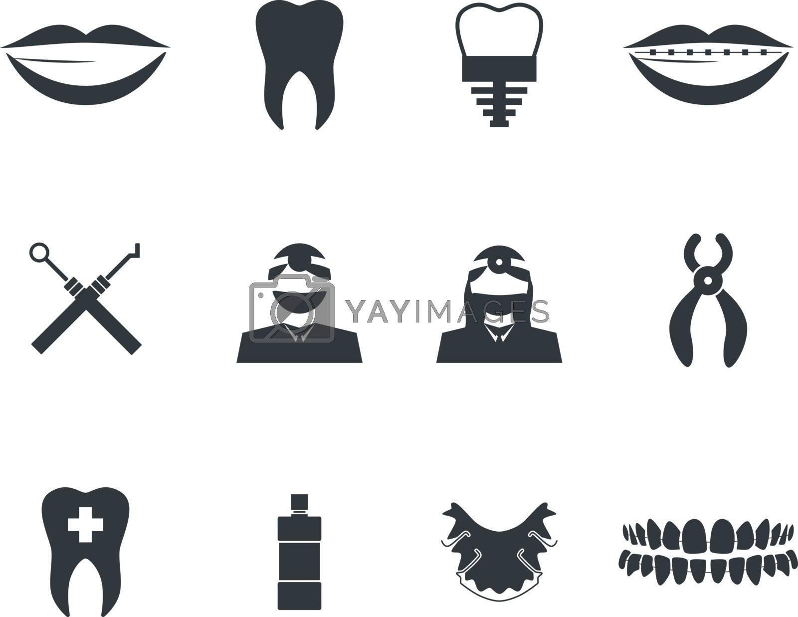 Dentist icon set. Vector illustration, EPS 10