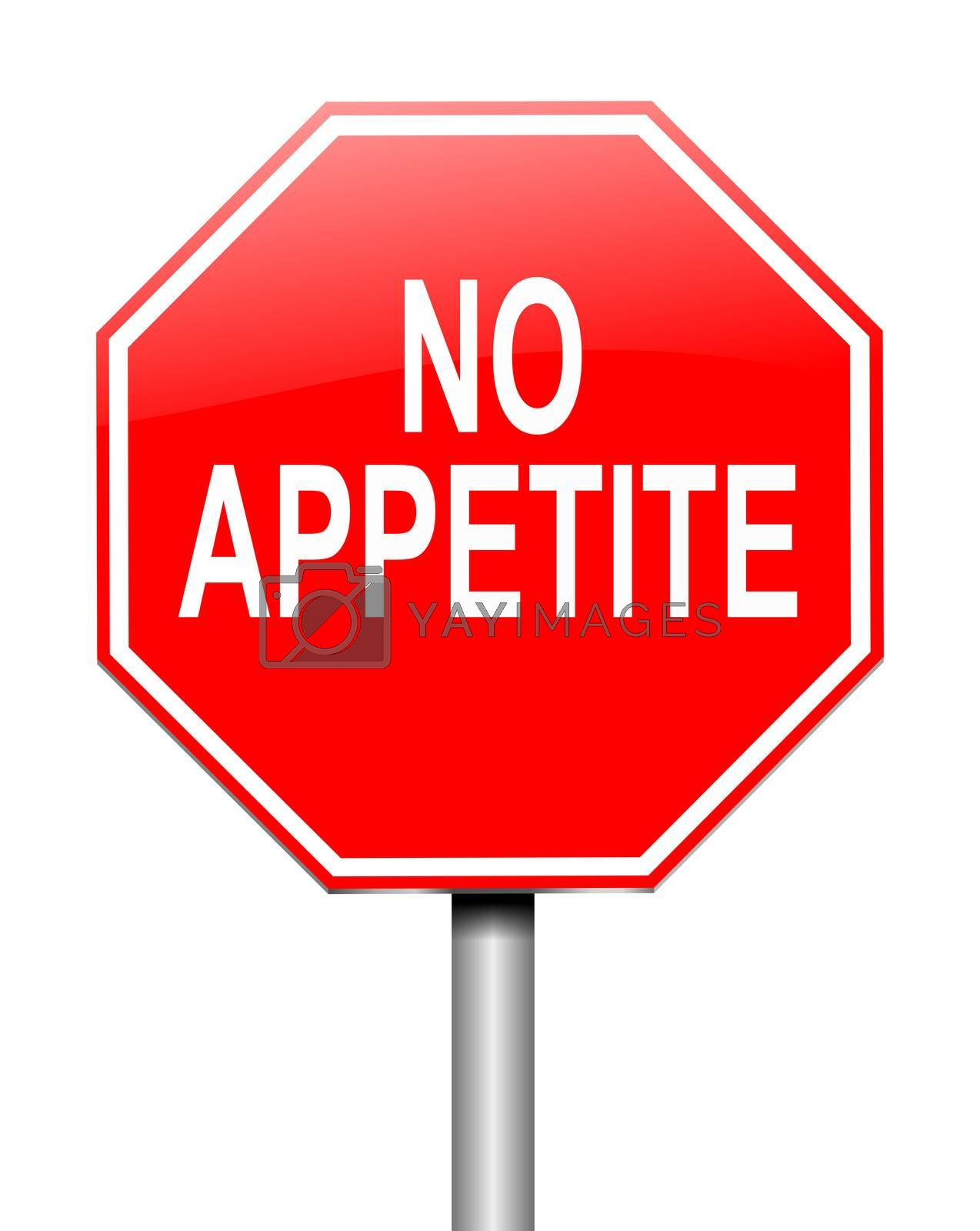 Illustration depicting a sign with a no appetite concept.