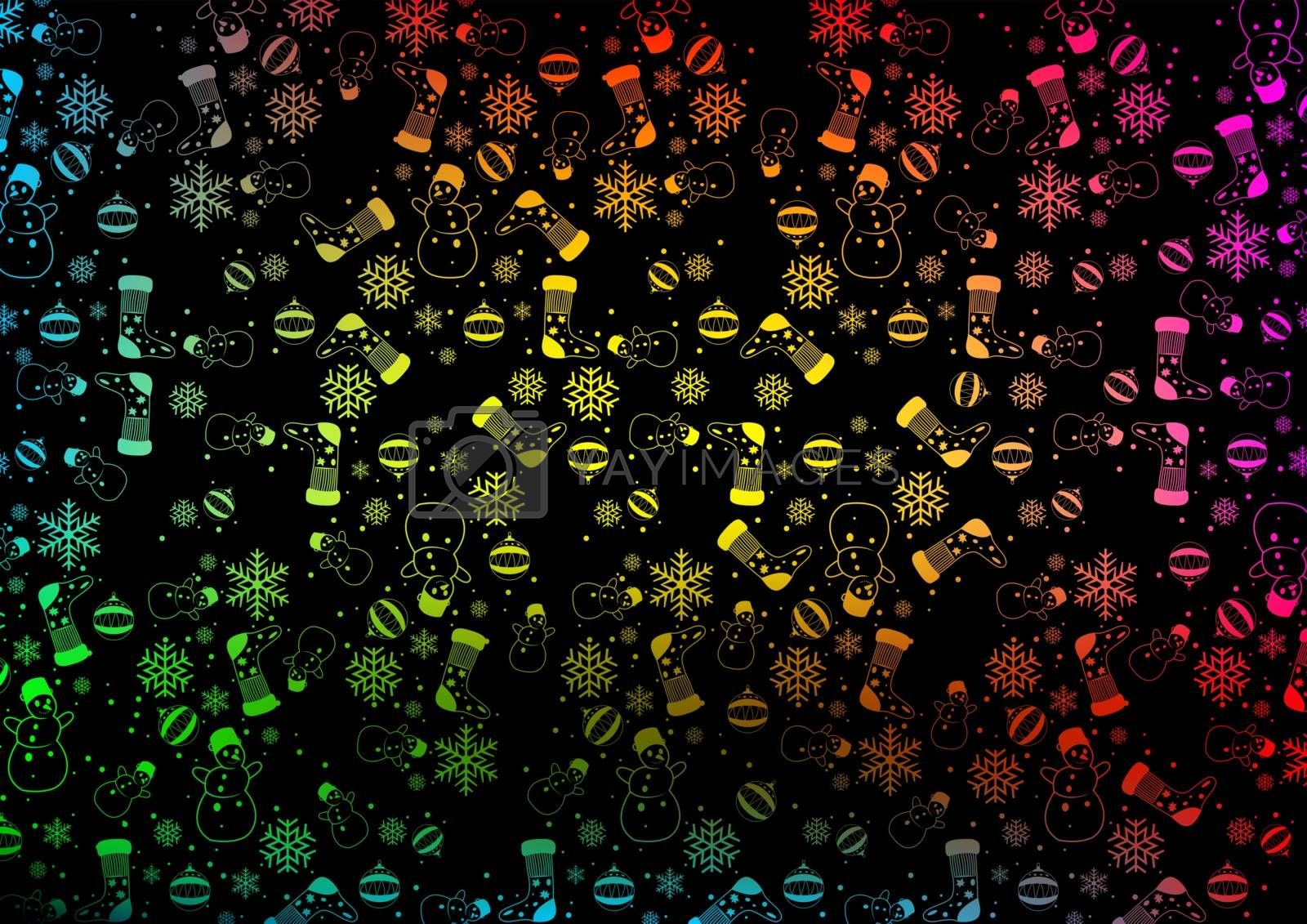 Colorful Christmas Background Texture with Outlined Ornaments - Illustration, Vector