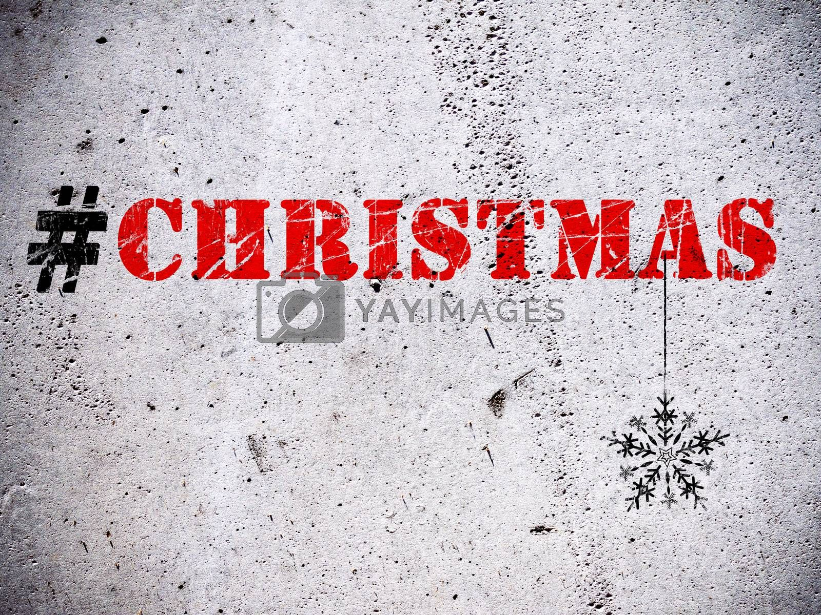Christmas hashtag rubber stamp on grunge concrete wall illustration